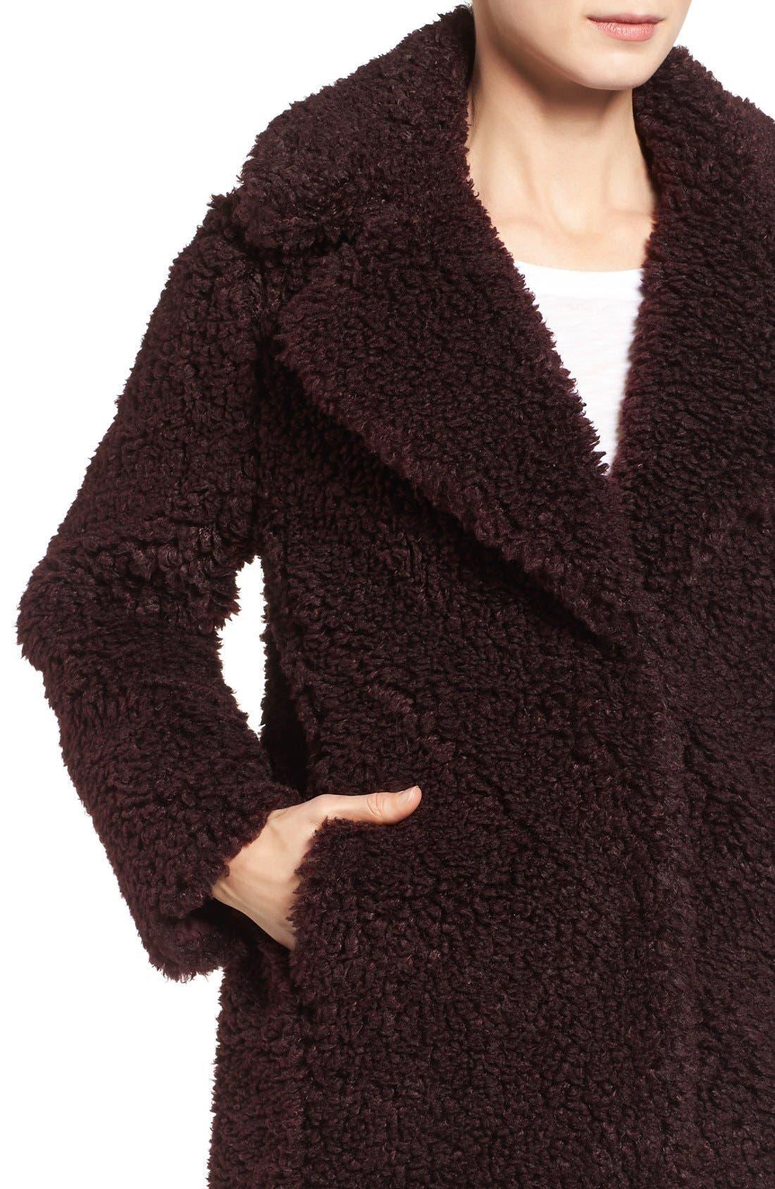 'Teddy Bear' Notch Collar Reversible Faux Fur Coat,                             Alternate thumbnail 8, color,