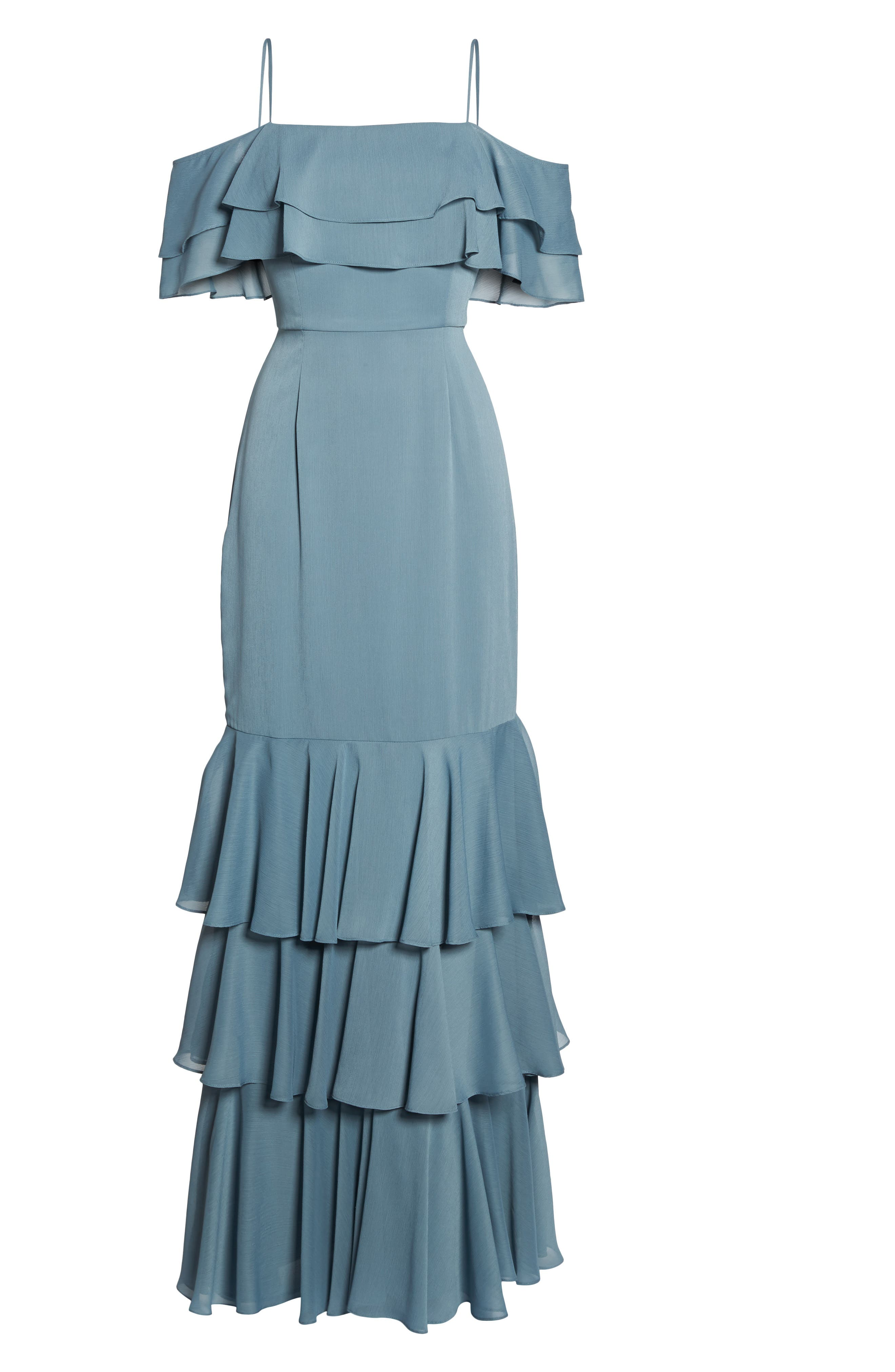 Lauren Cold Shoulder Tiered Gown,                             Alternate thumbnail 16, color,