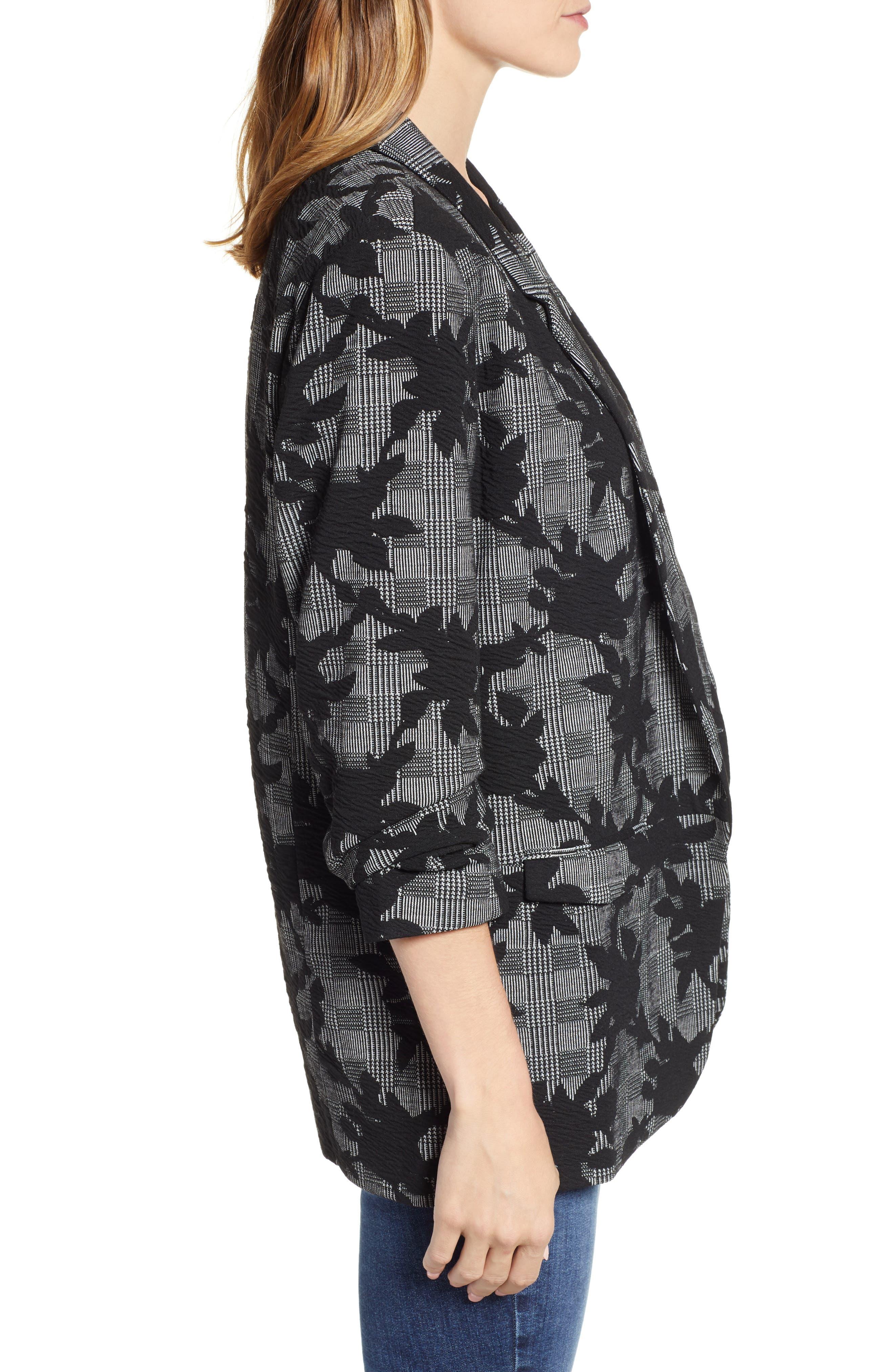 Floral Plaid Jacket,                             Alternate thumbnail 3, color,                             BLACK/ GREY