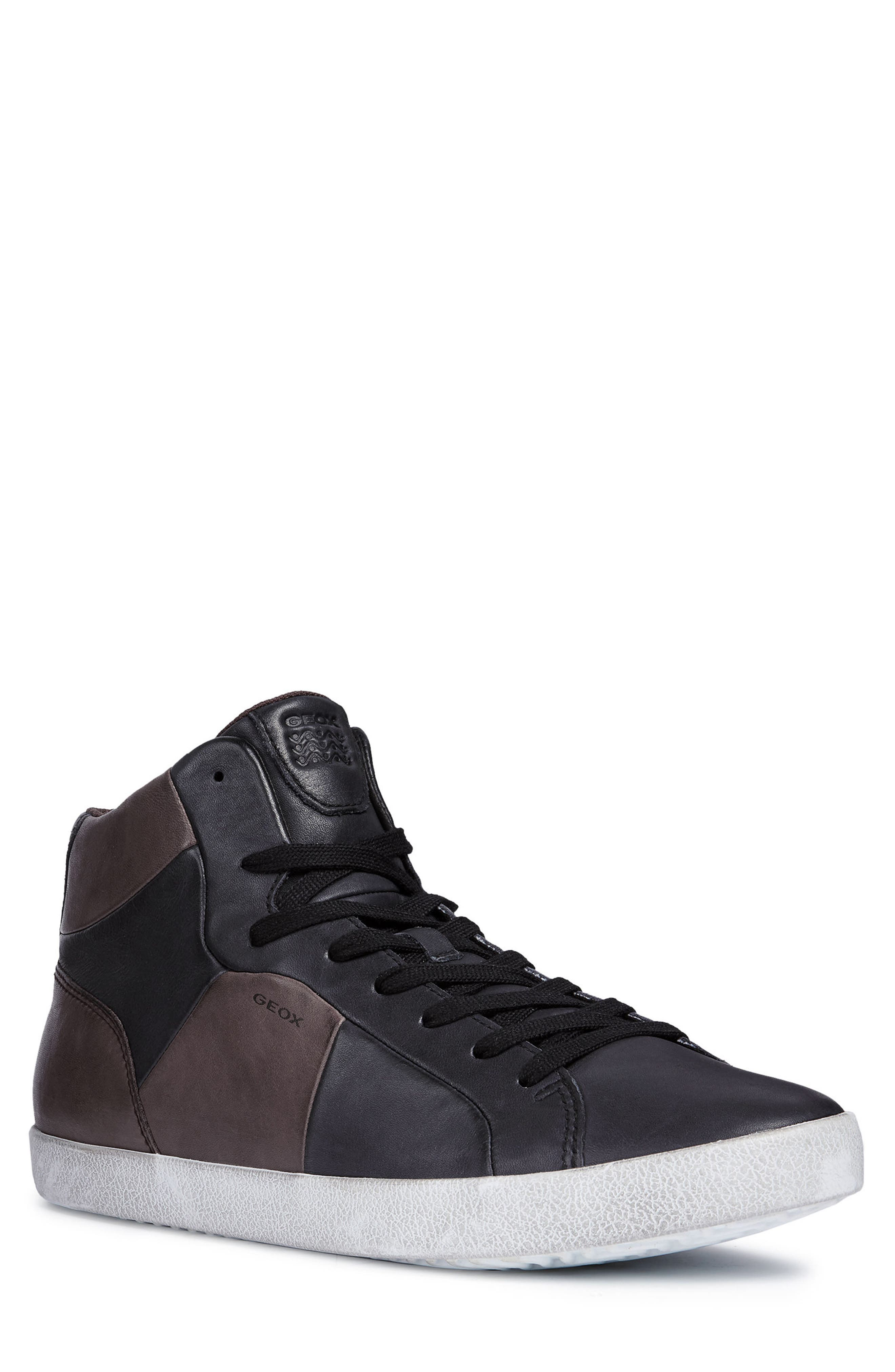 Smart 84 High Top Sneaker,                             Main thumbnail 1, color,                             BLACK/ COFFEE LEATHER
