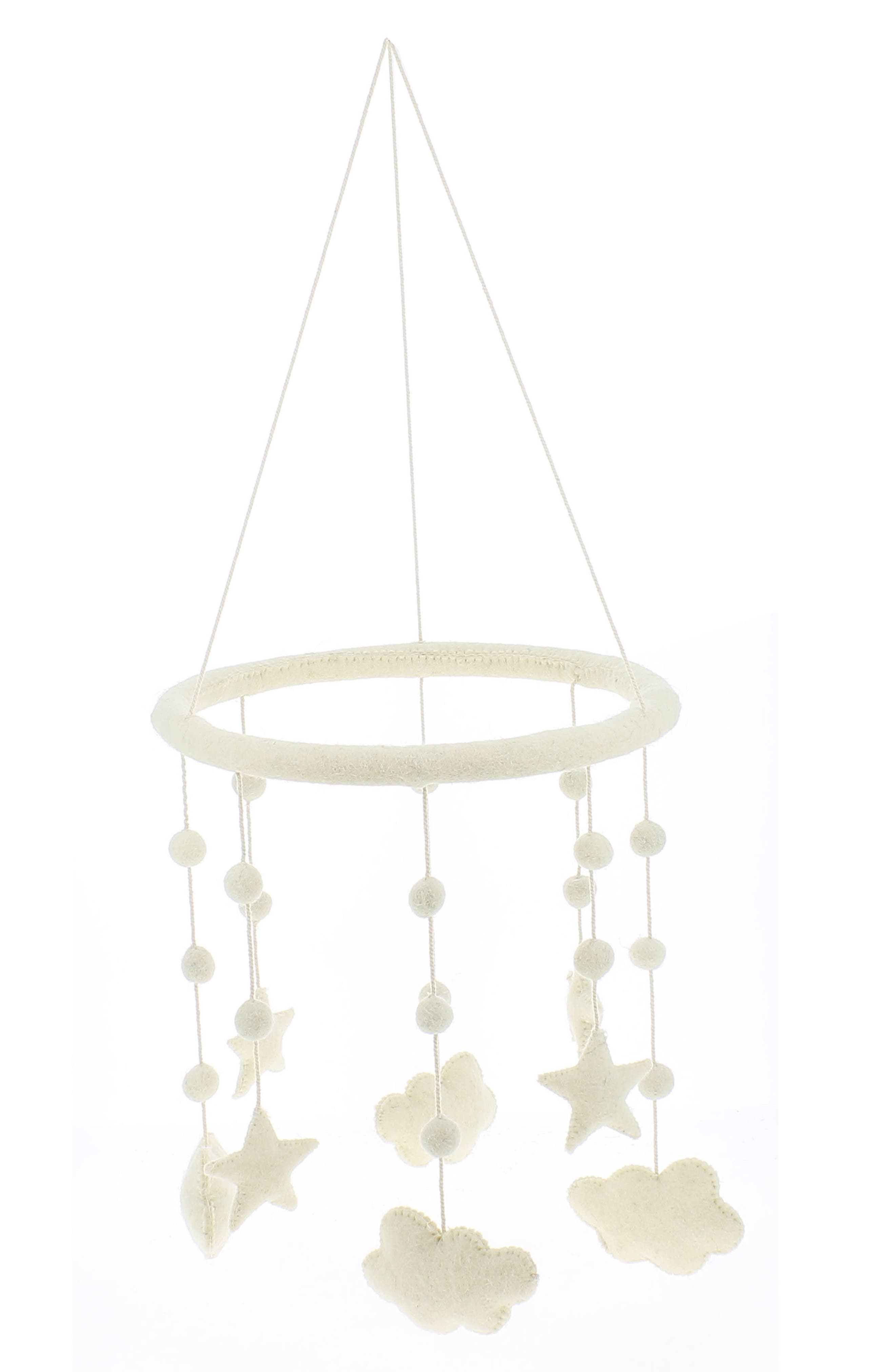 Cloud, Moon & Star Organic Lambswool Mobile Decoration,                         Main,                         color,