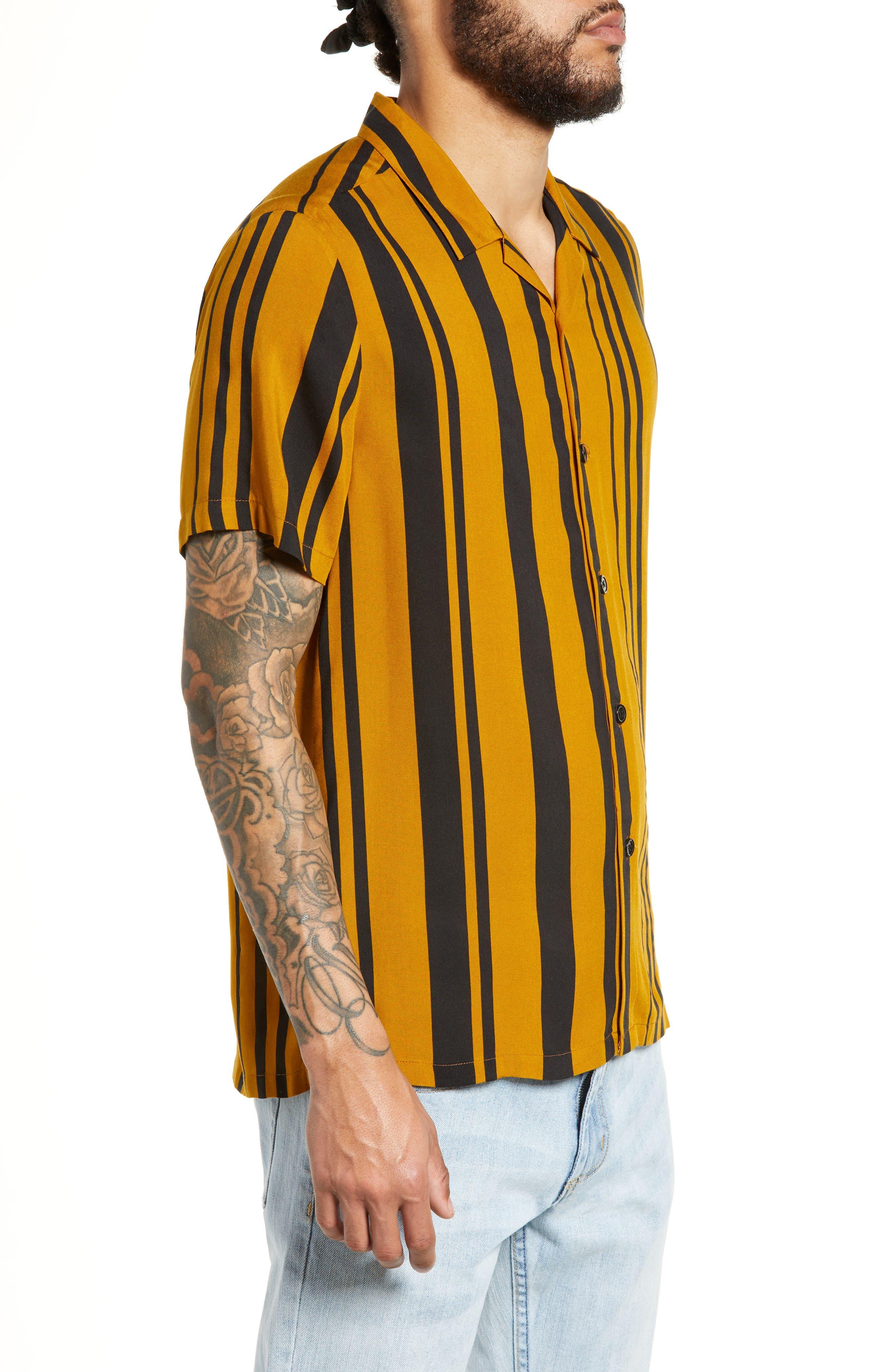 Stripe Classic Fit Shirt,                             Alternate thumbnail 4, color,                             YELLOW MULTI
