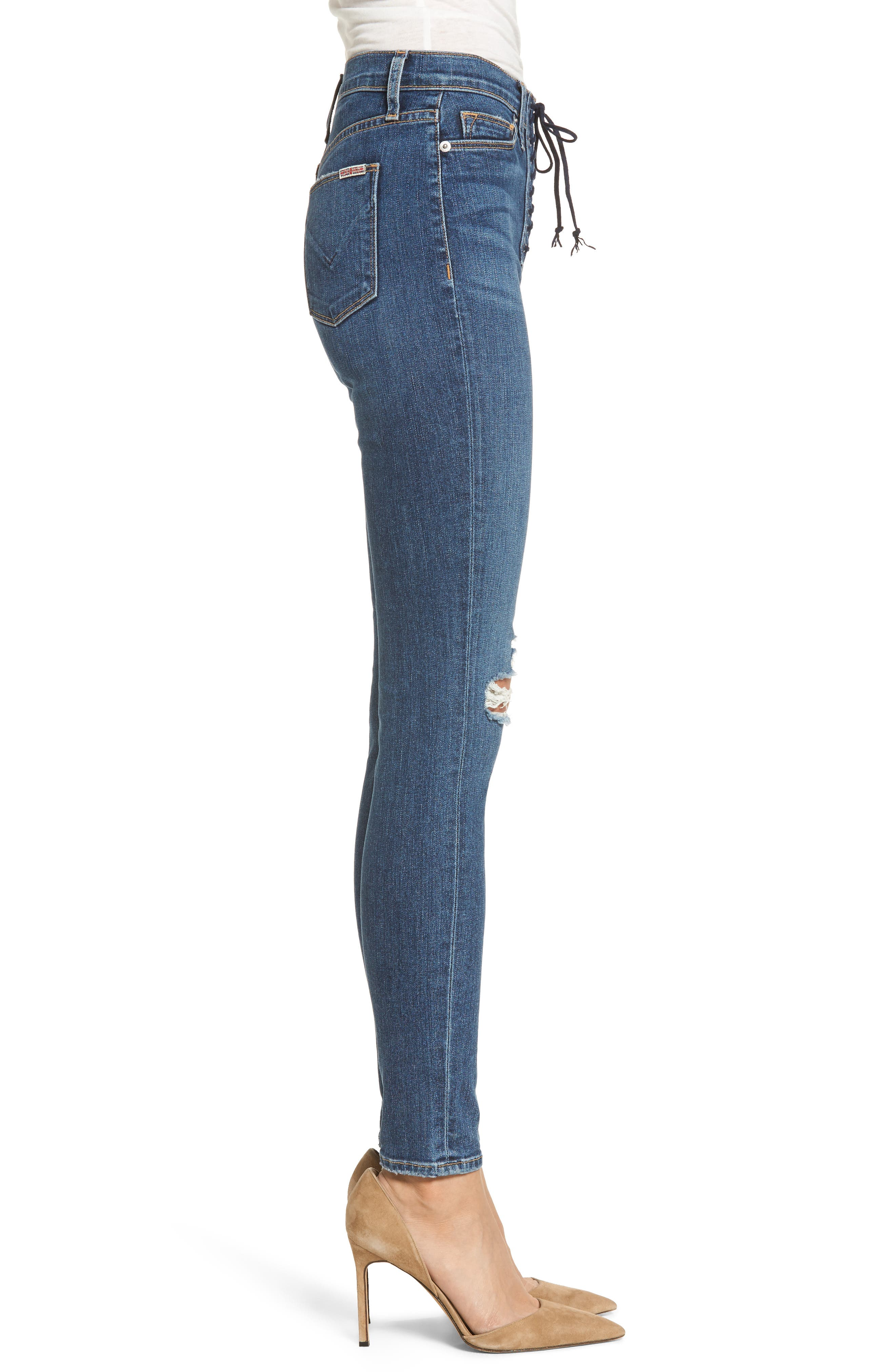 Bullocks Lace-Up High Waist Super Skinny Jeans,                             Alternate thumbnail 3, color,                             421