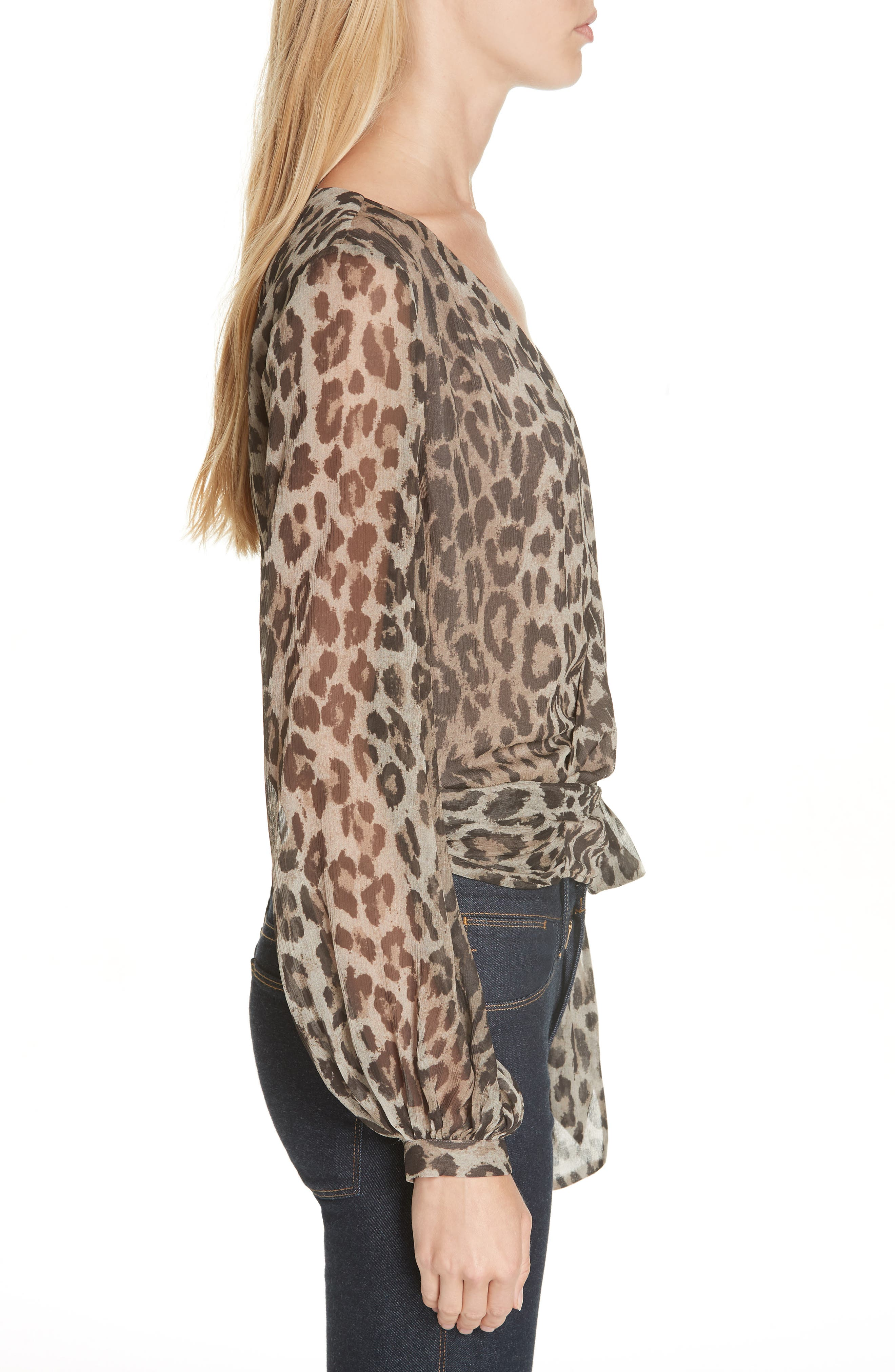 Leopard Print Silk Wrap Top,                             Alternate thumbnail 3, color,                             200