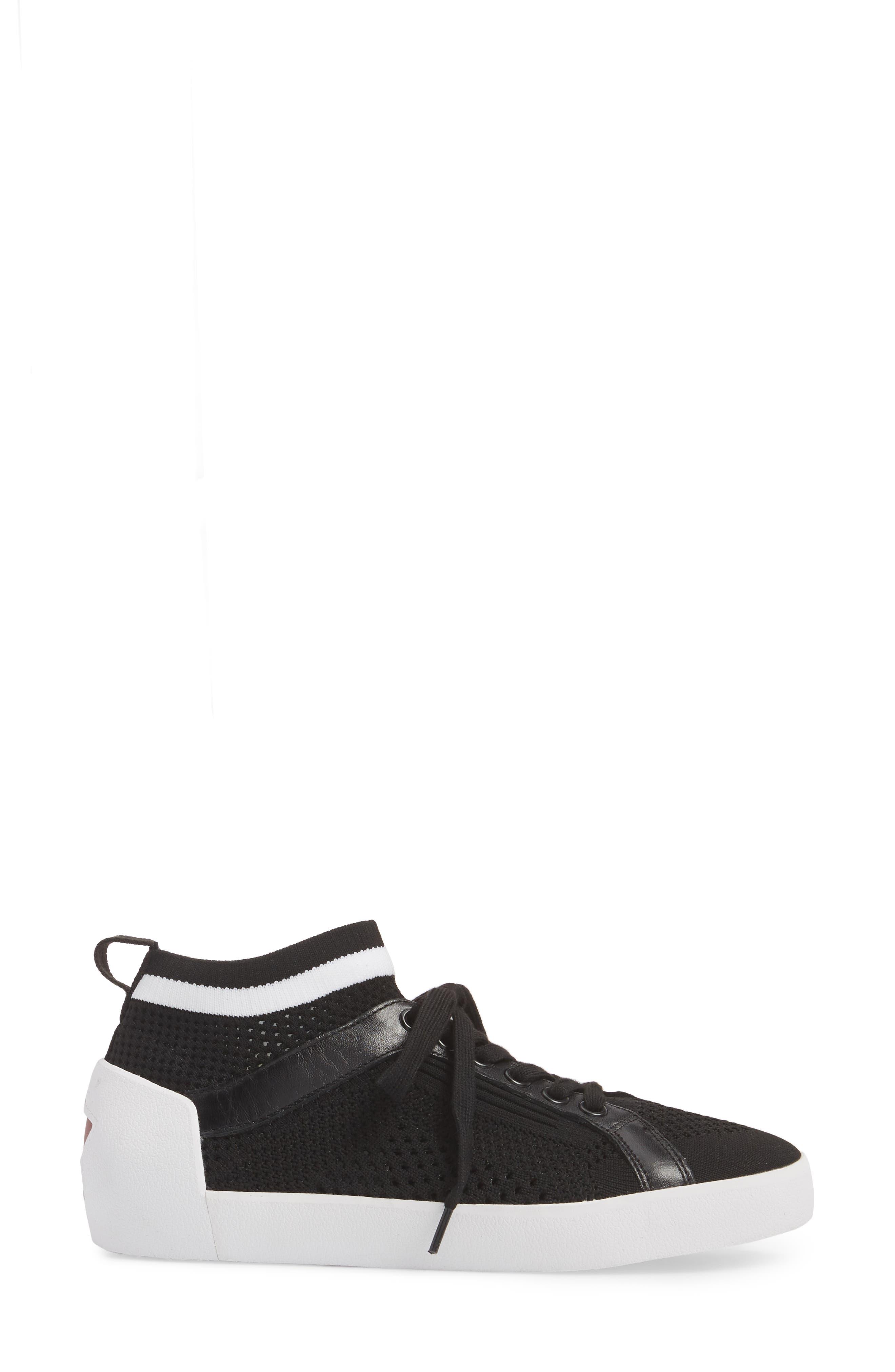 Nolita Mid Top Sock Sneaker,                             Alternate thumbnail 3, color,                             001