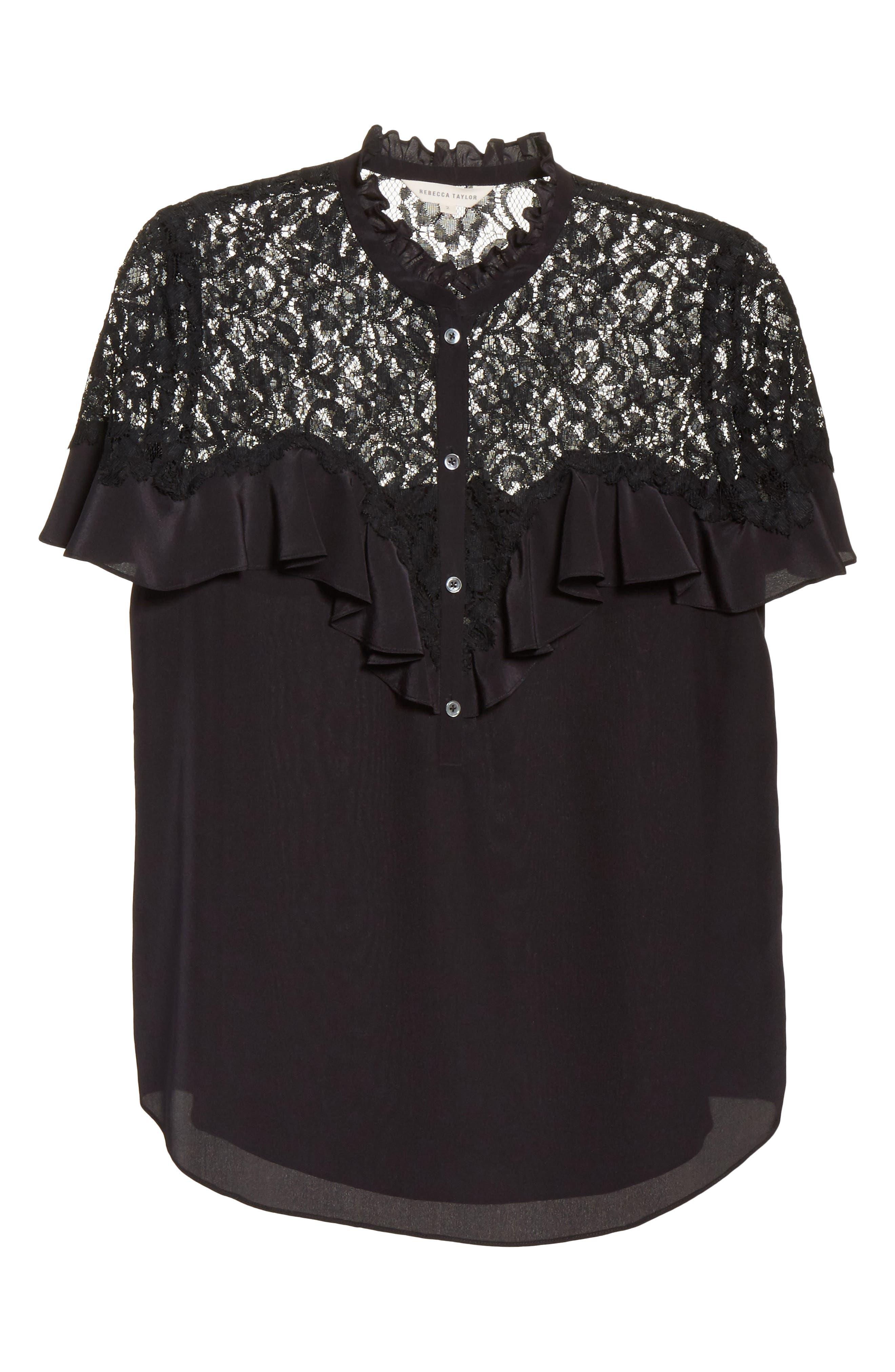 Silk & Lace Blouse,                             Alternate thumbnail 6, color,                             001