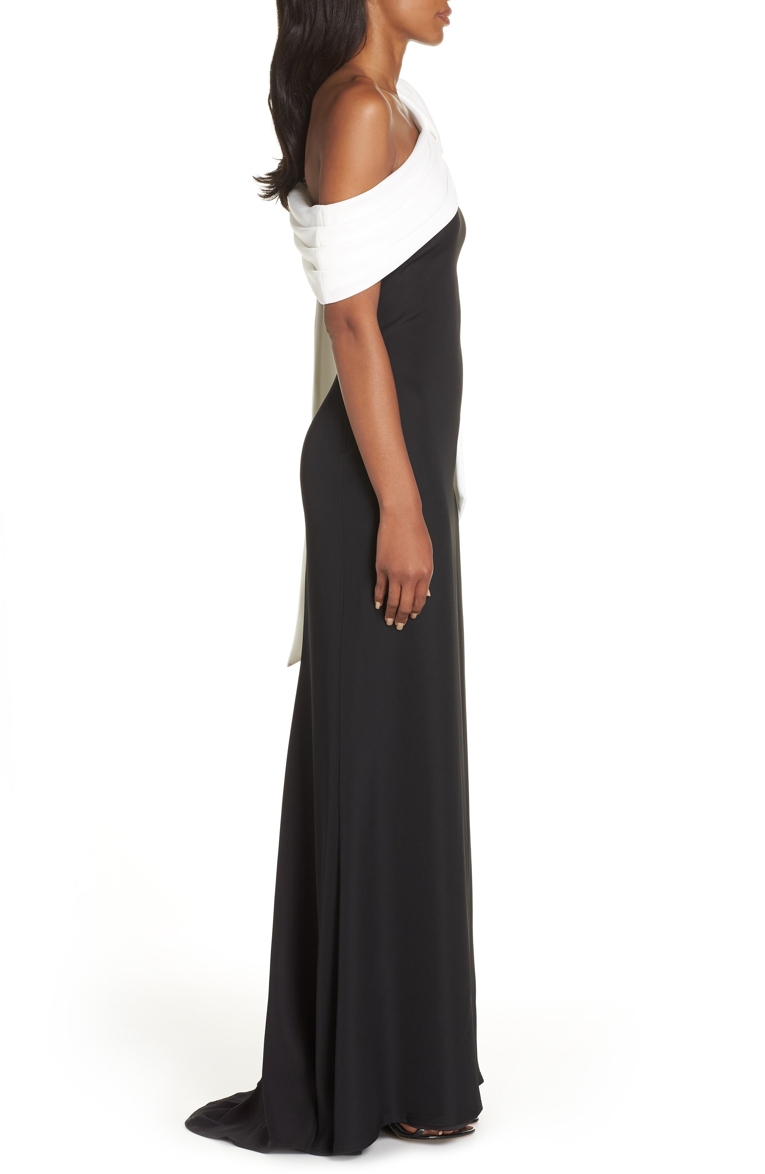 Crepe Gown,                             Alternate thumbnail 3, color,                             BLACK/ WHITE