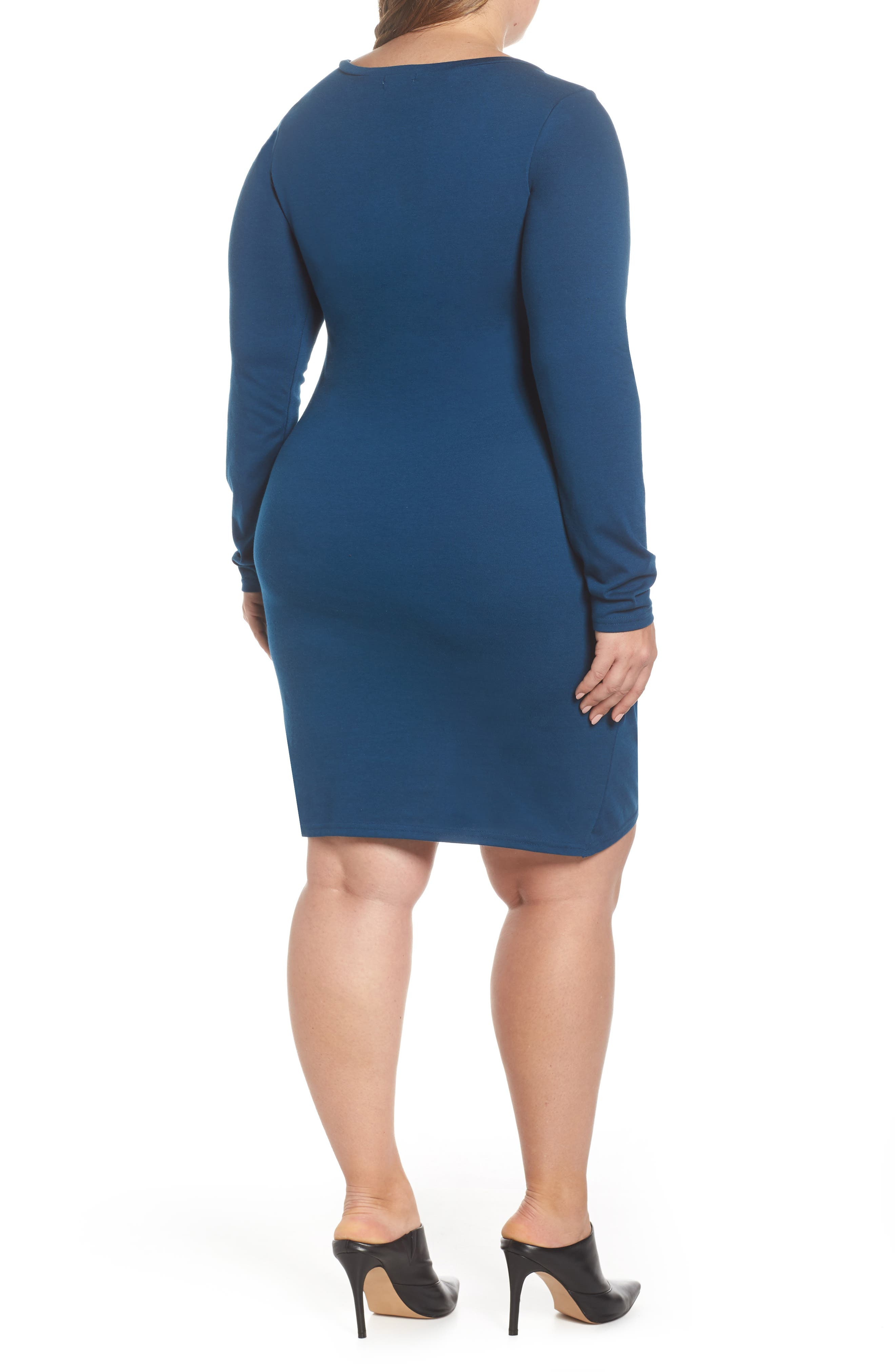 LEITH,                             Ruched Body-Con Dress,                             Alternate thumbnail 2, color,                             BLUE AURORA