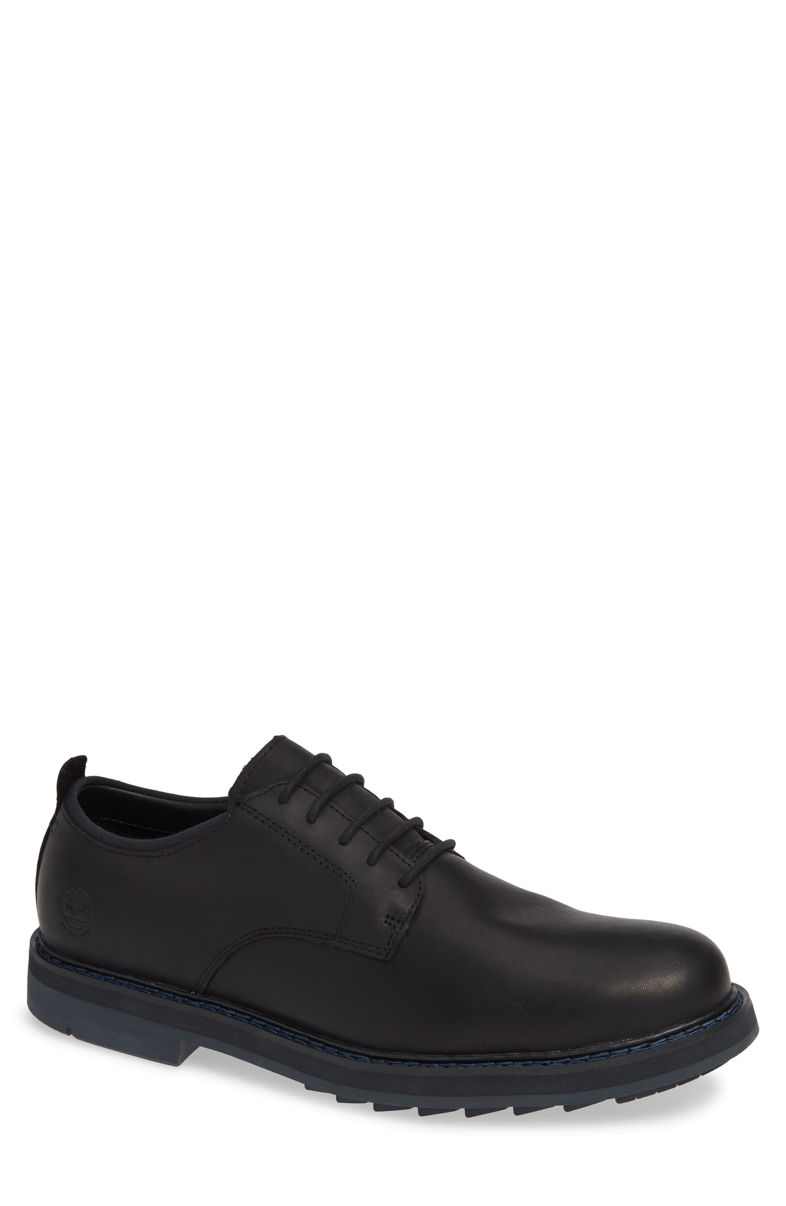 Squall Canyon Waterproof Plain Toe Derby,                             Main thumbnail 1, color,                             BLACK LEATHER