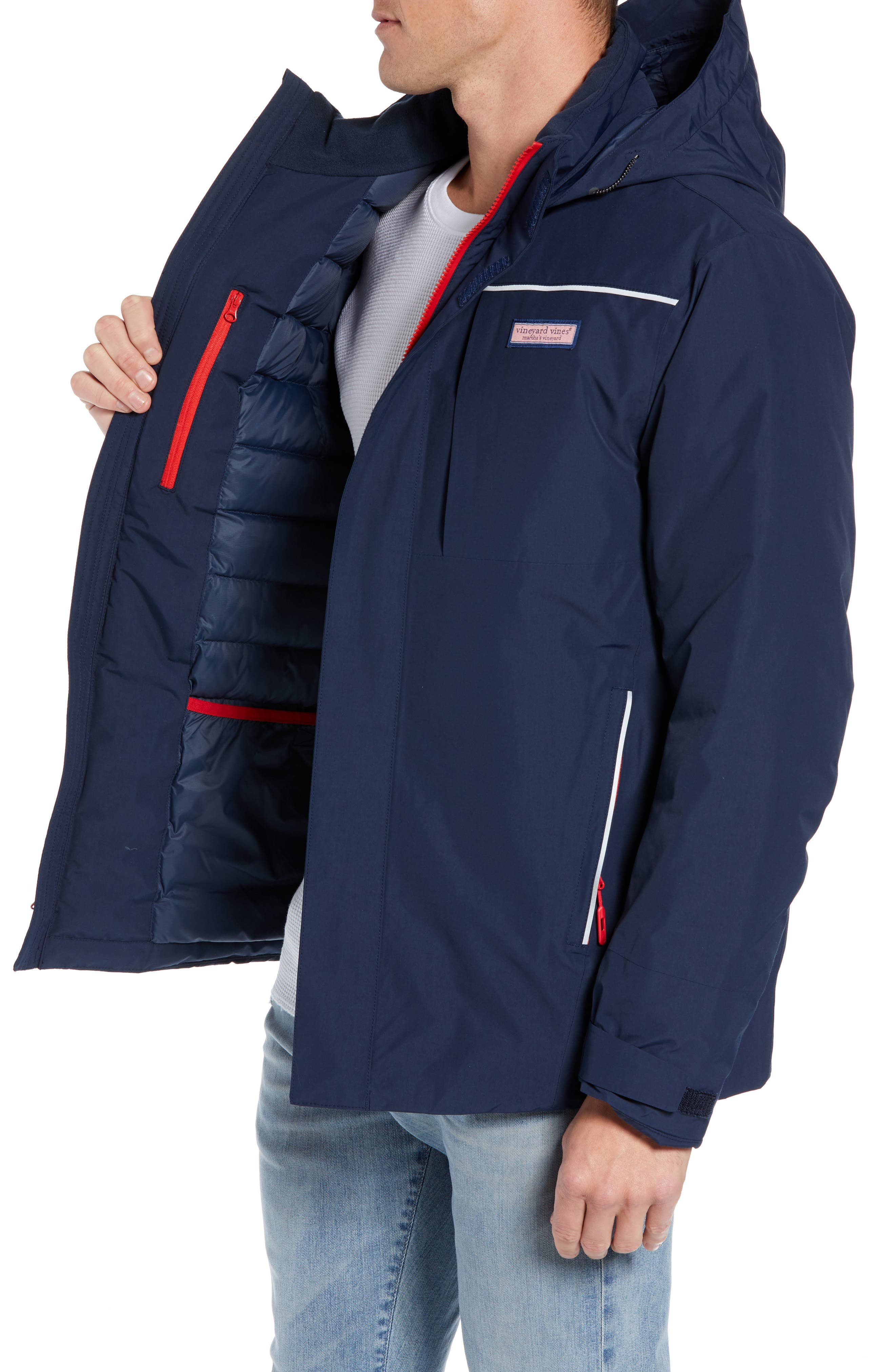 The Noreaster Regular Fit Down Jacket,                             Alternate thumbnail 3, color,                             DEEP BAY