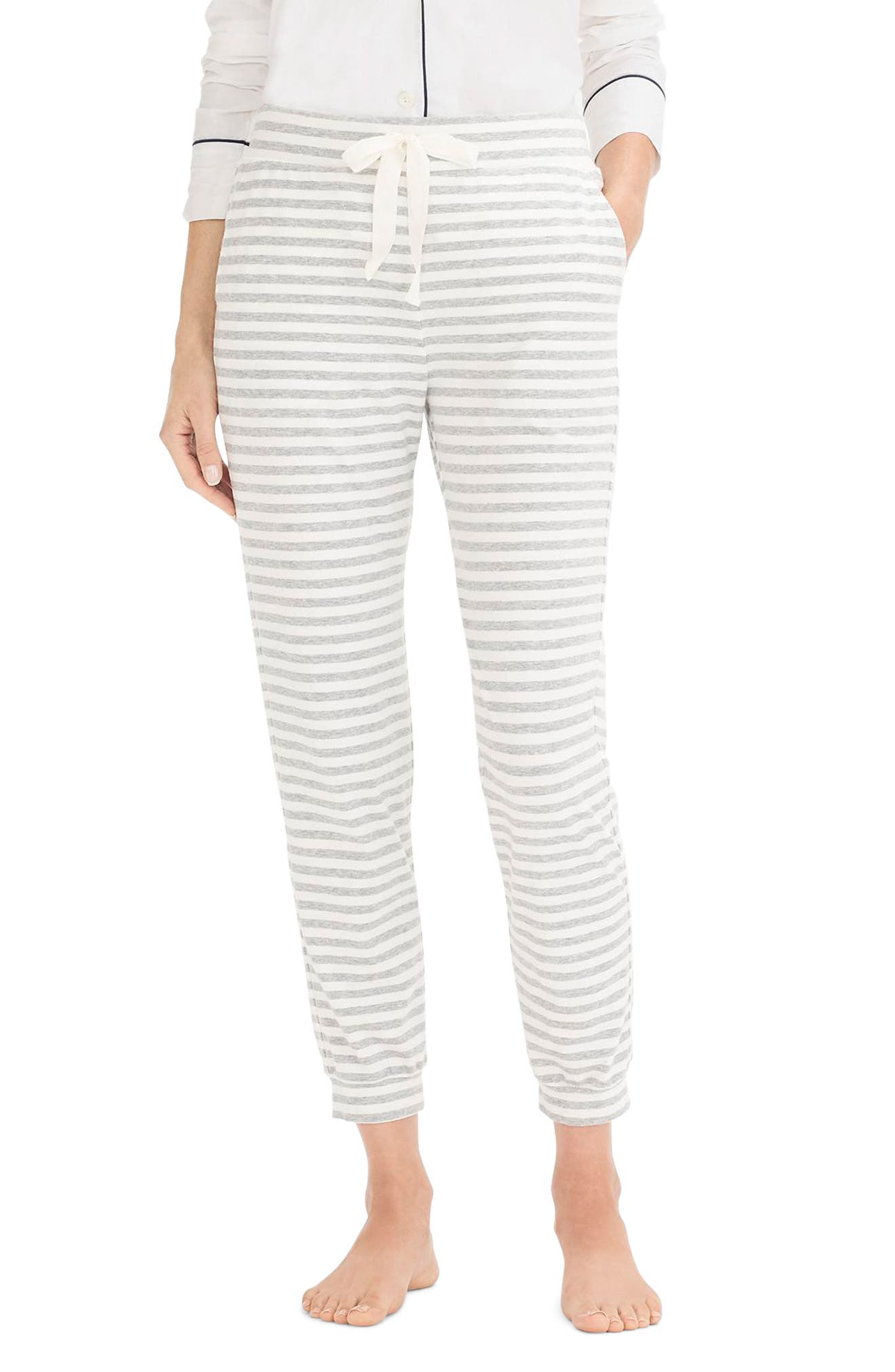 J.crew Dreamy Stripe Pajama Jogger Pants, Grey