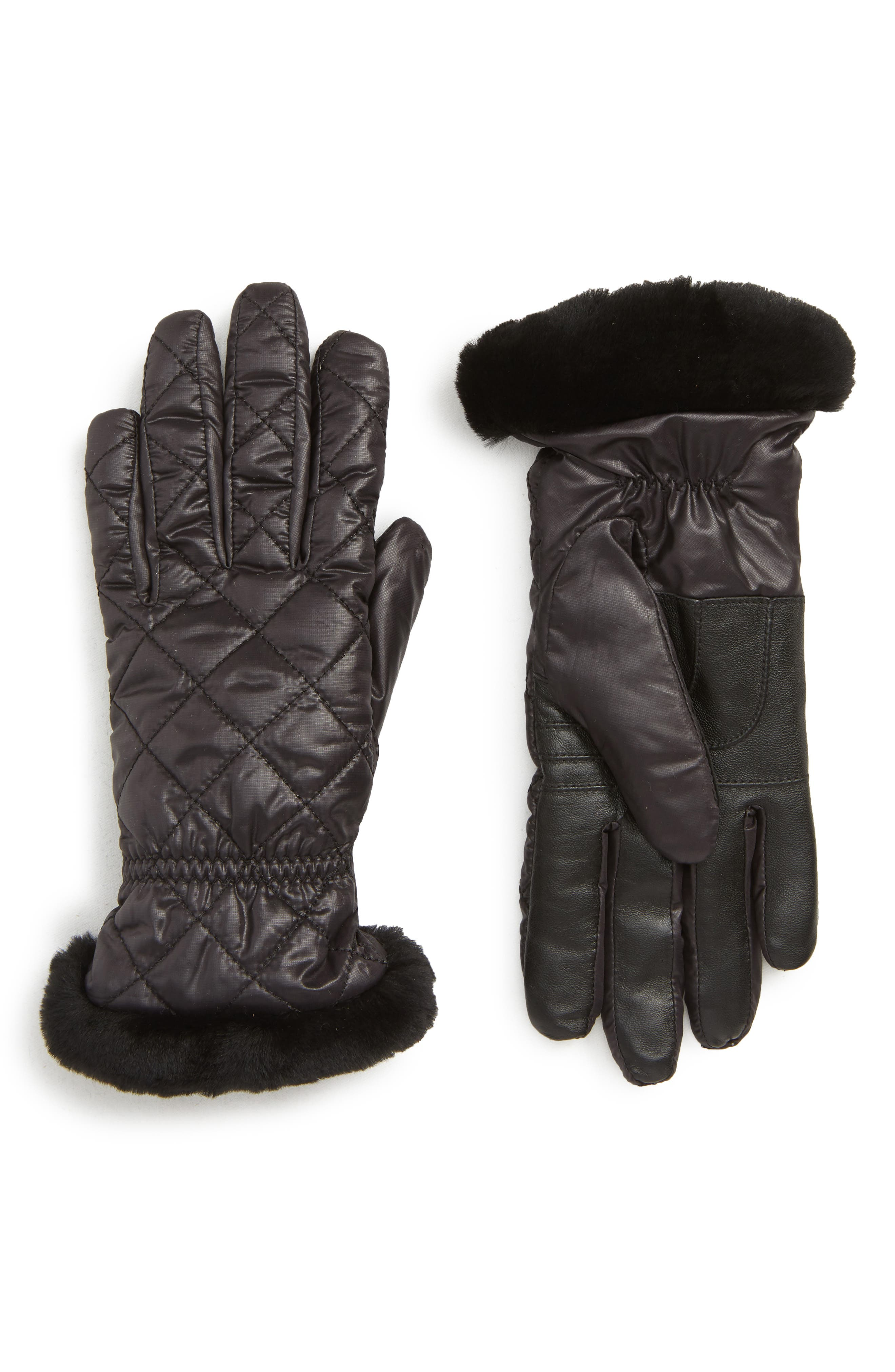 All Weather Touchscreen Compatible Quilted Gloves with Genuine Shearling Trim,                             Main thumbnail 1, color,                             BLACK