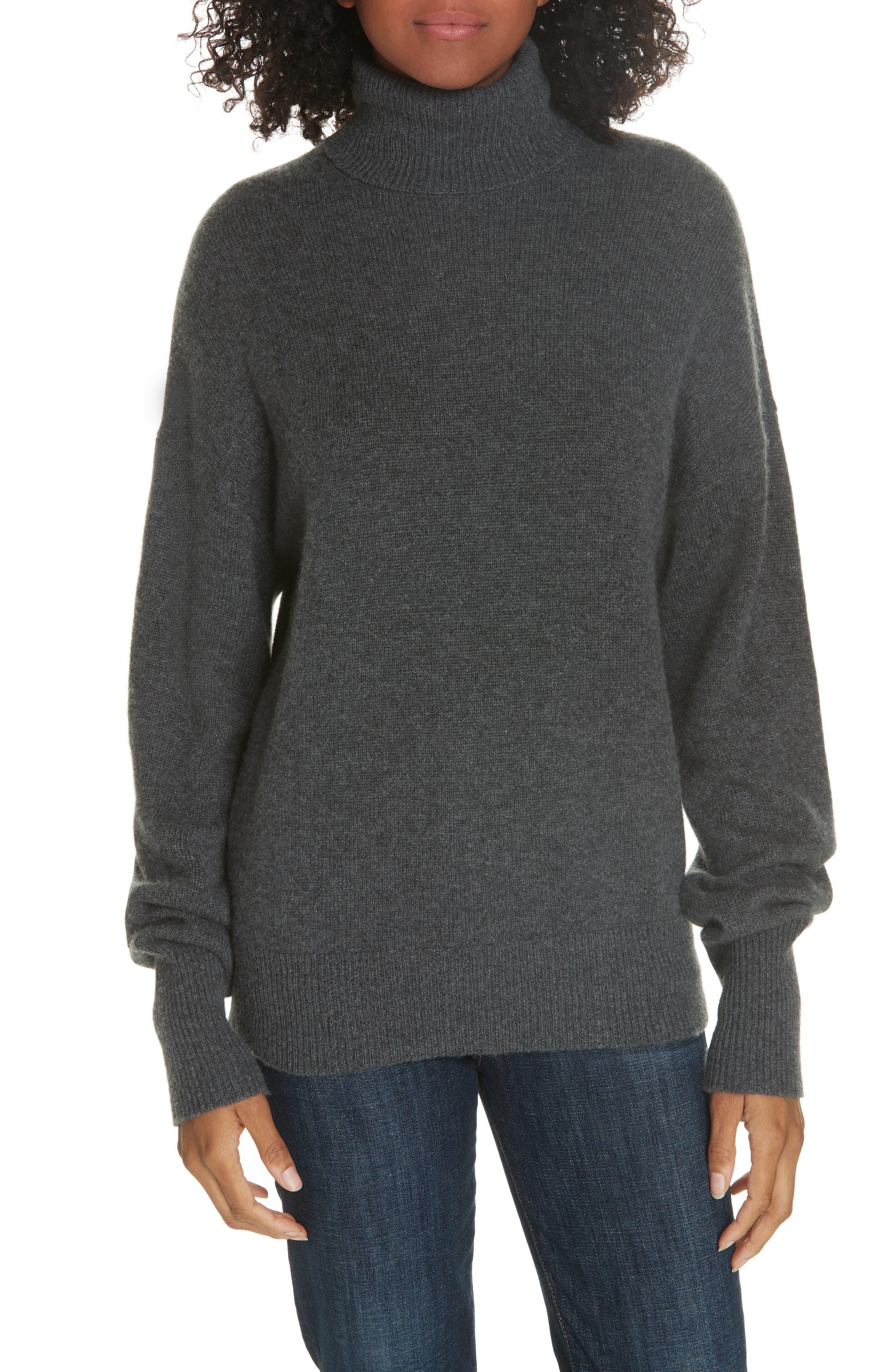 Cashmere Drop Shoulder Turtleneck Sweater,                         Main,                         color, HEATHER BOULDER