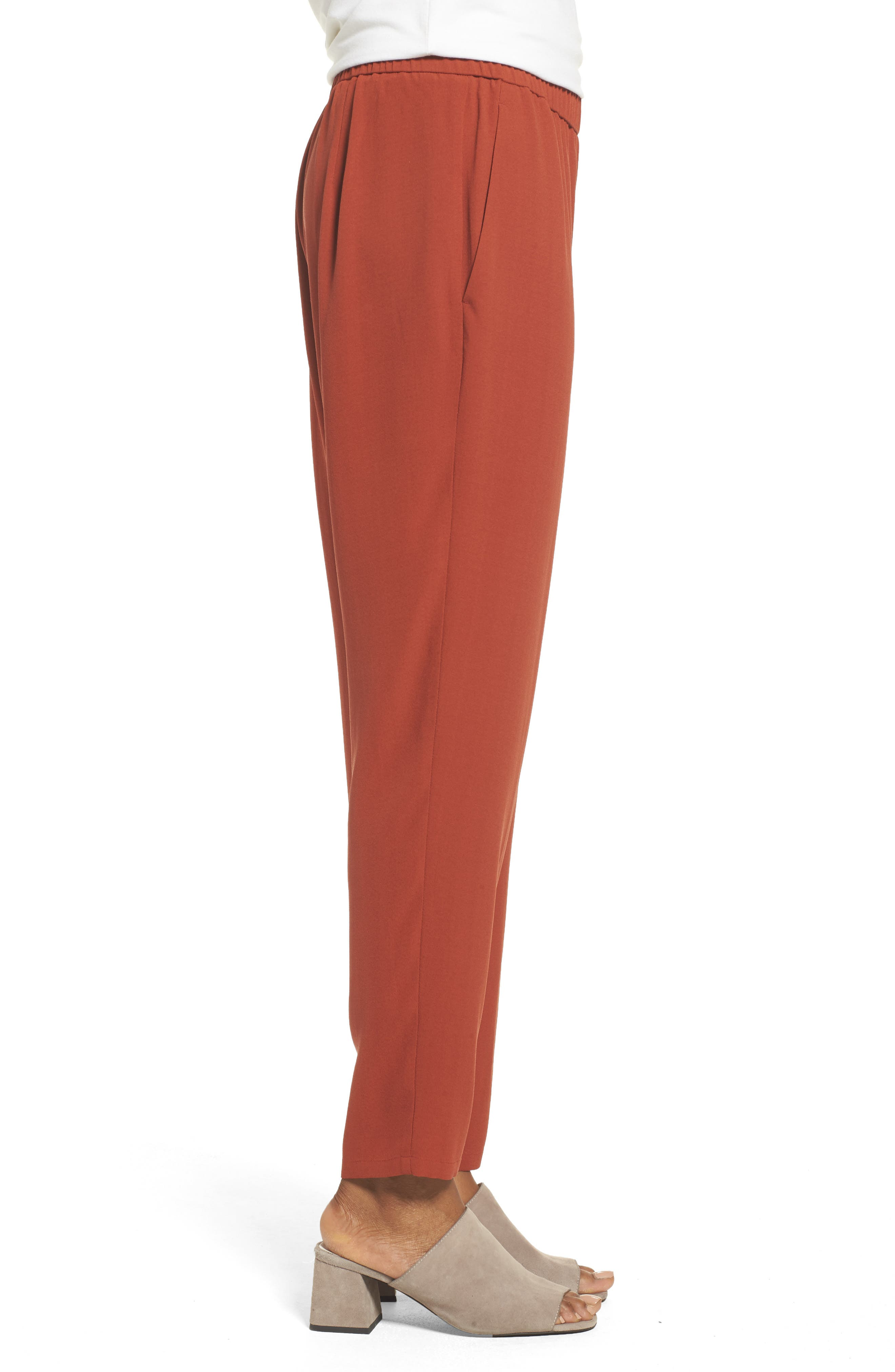 Slouchy Silk Crepe Ankle Pants,                             Alternate thumbnail 28, color,