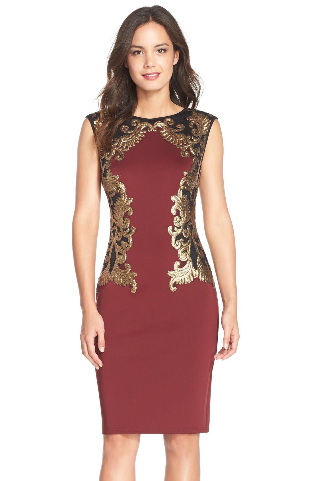 Sequin Neoprene Dress,                         Main,                         color, 205