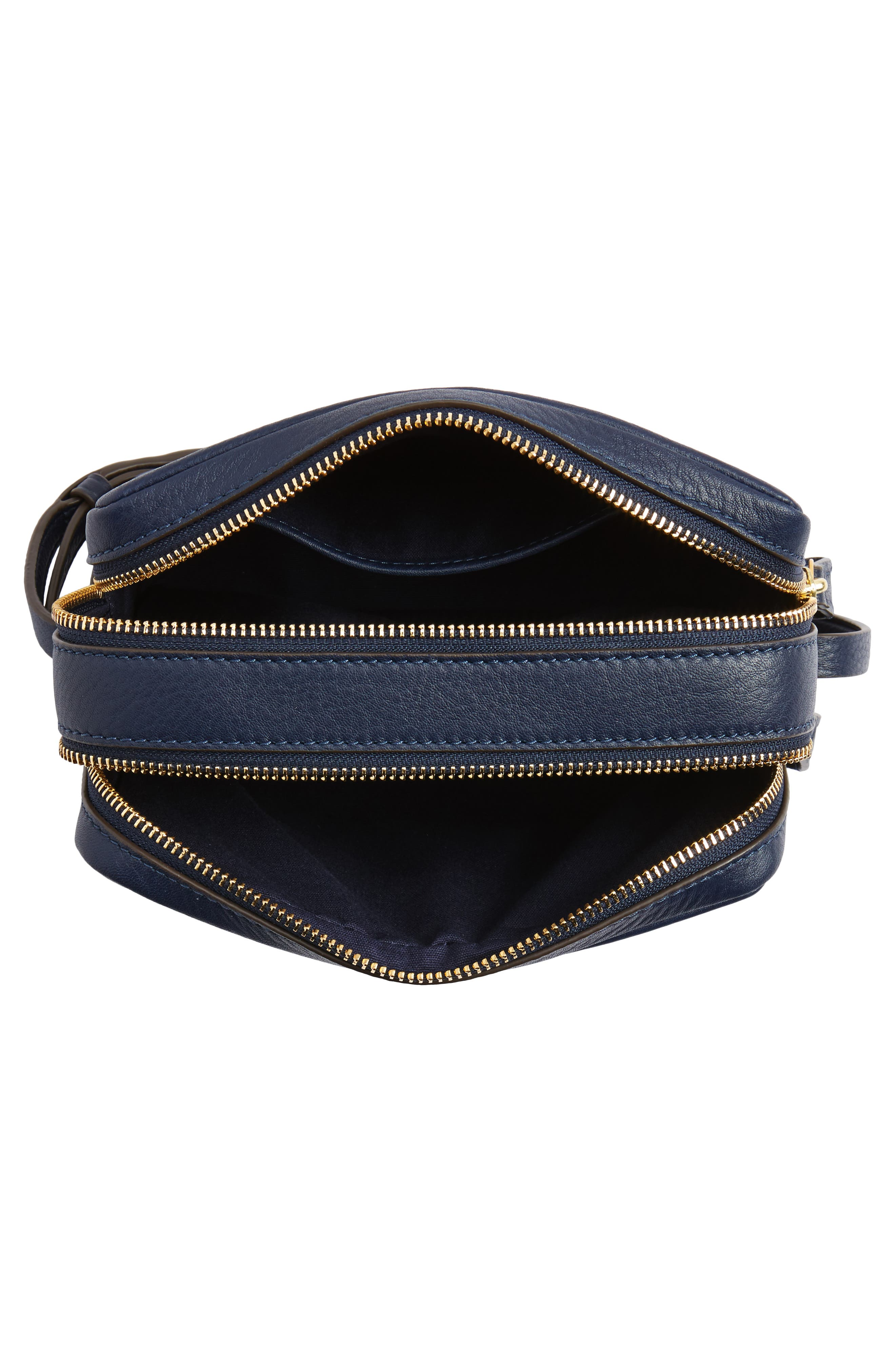 Block-T Double Zip Leather Crossbody Bag,                             Alternate thumbnail 8, color,
