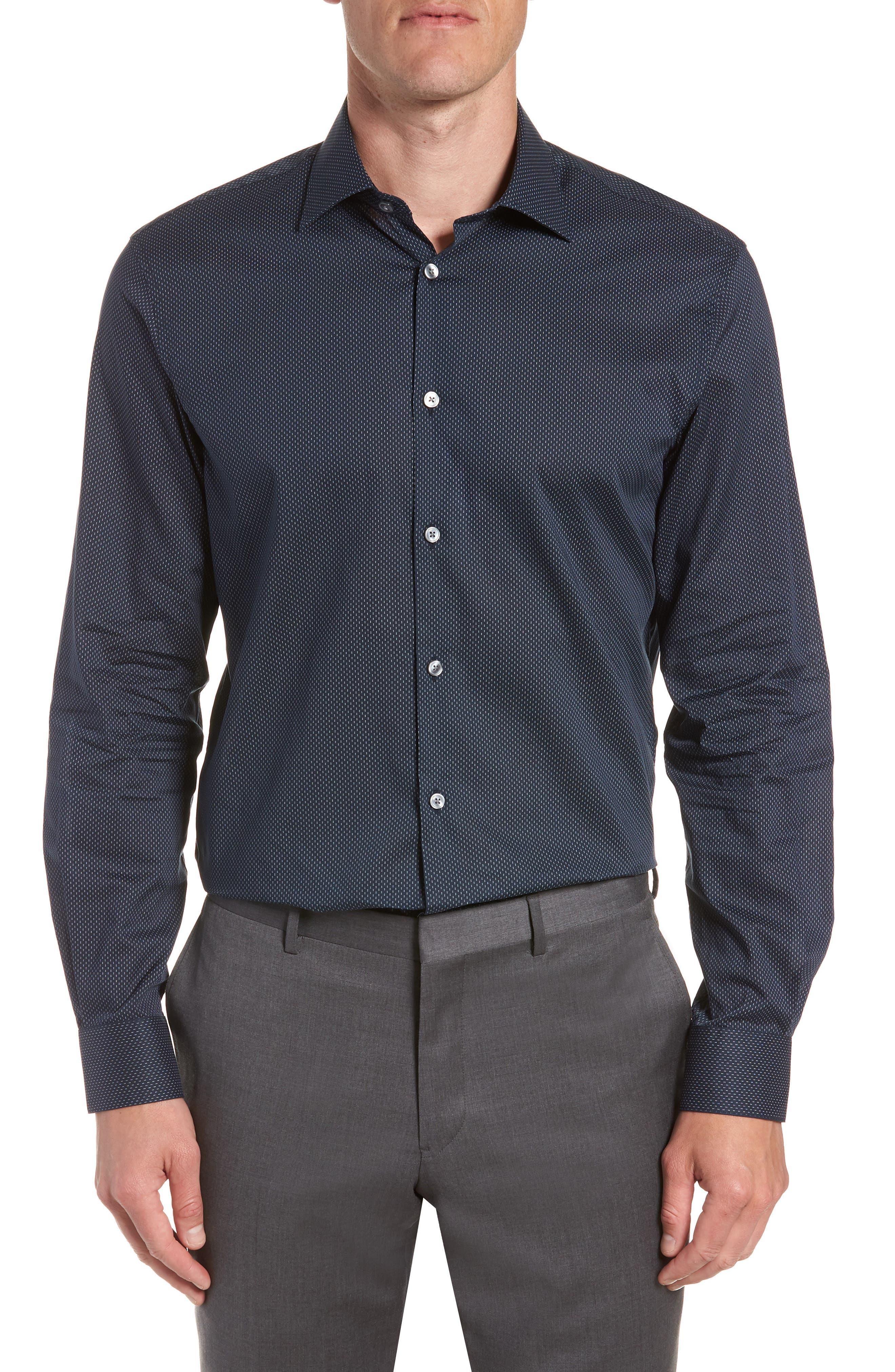 Regular Fit Dot Dress Shirt,                             Main thumbnail 1, color,                             INDIGO