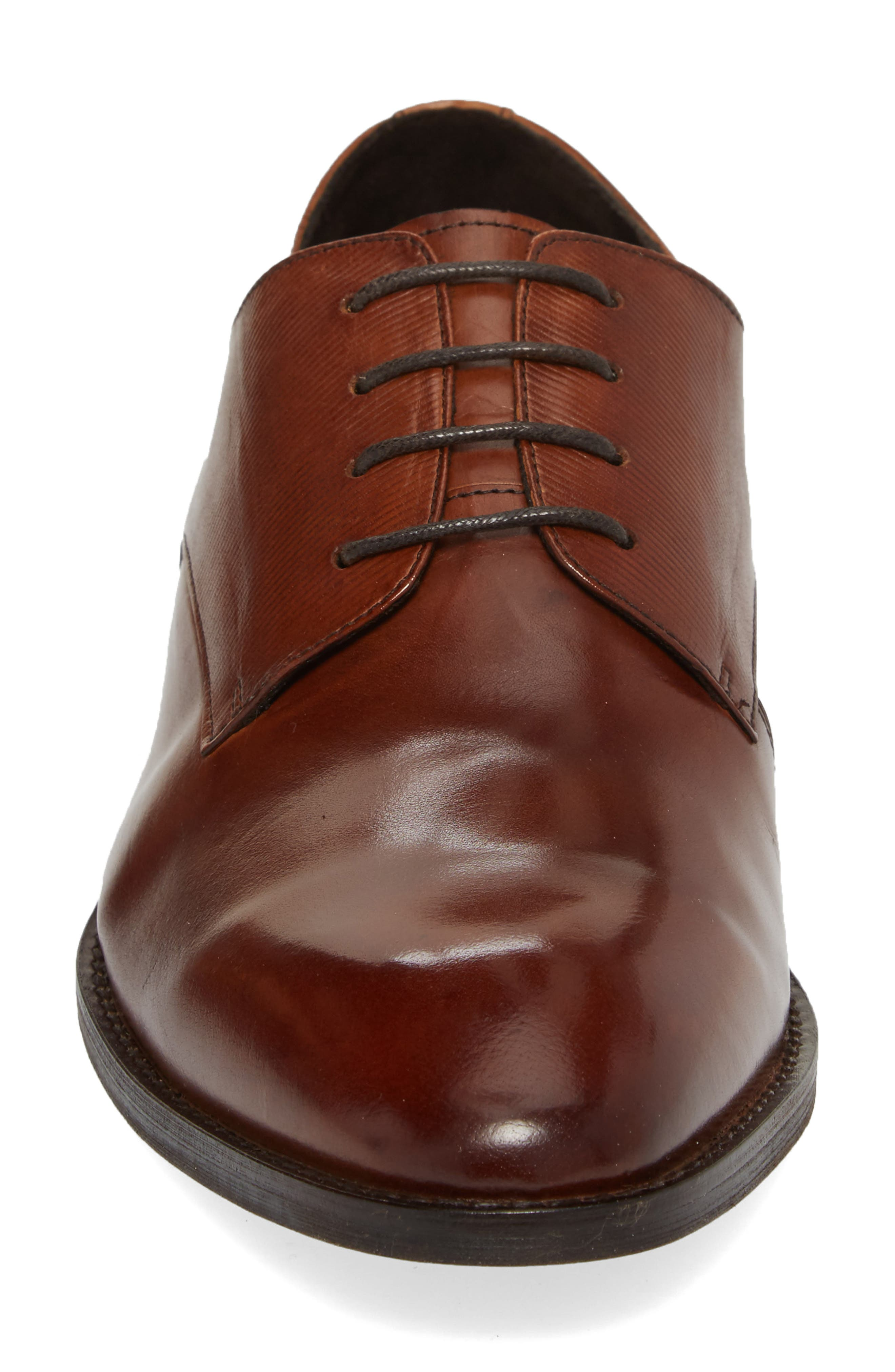 KENNETH COLE NEW YORK,                             Courage Plain Toe Derby,                             Alternate thumbnail 4, color,                             COGNAC LEATHER
