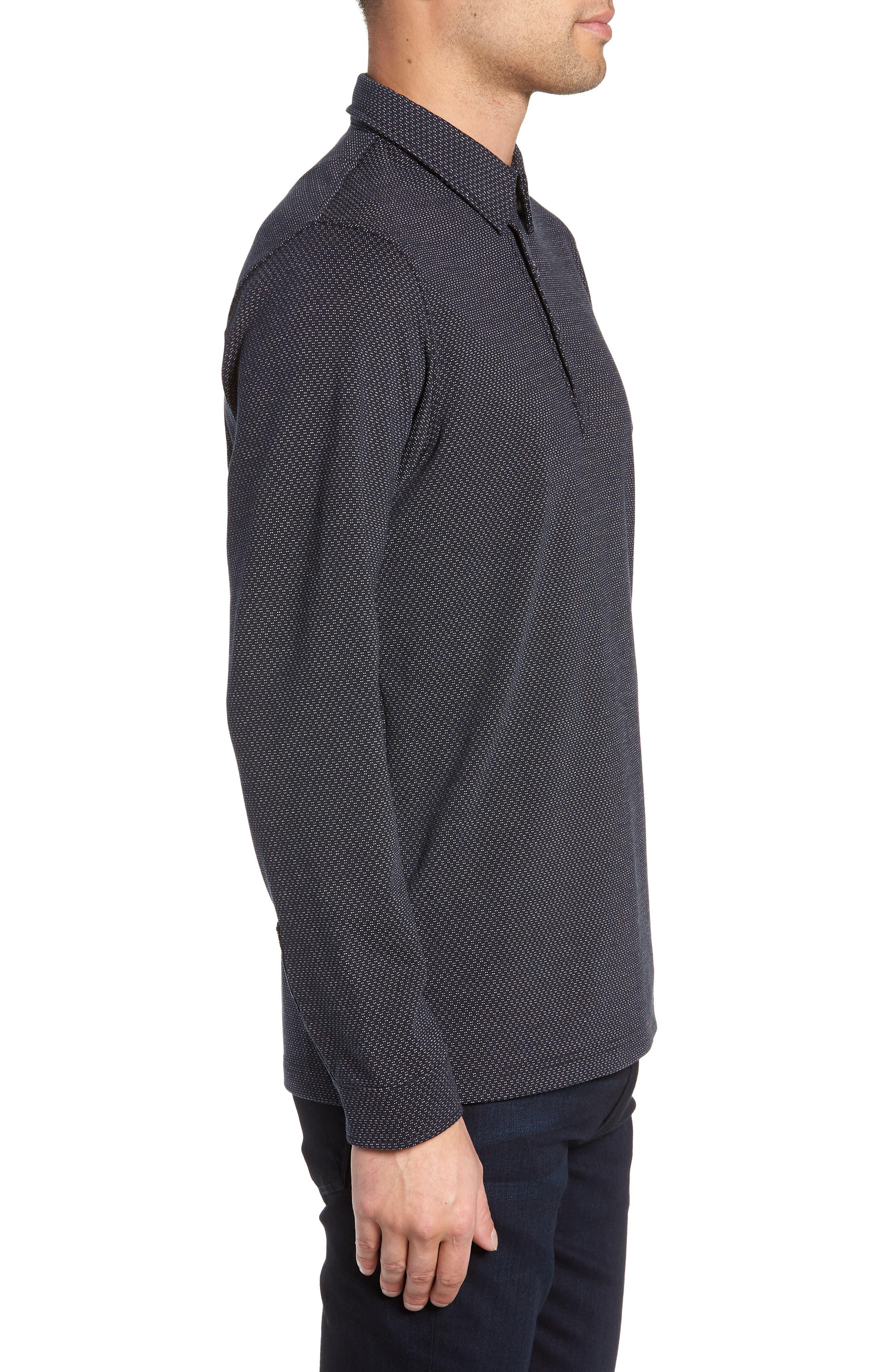 Trim Micro Foulard Polo Shirt,                             Alternate thumbnail 3, color,                             NAVY