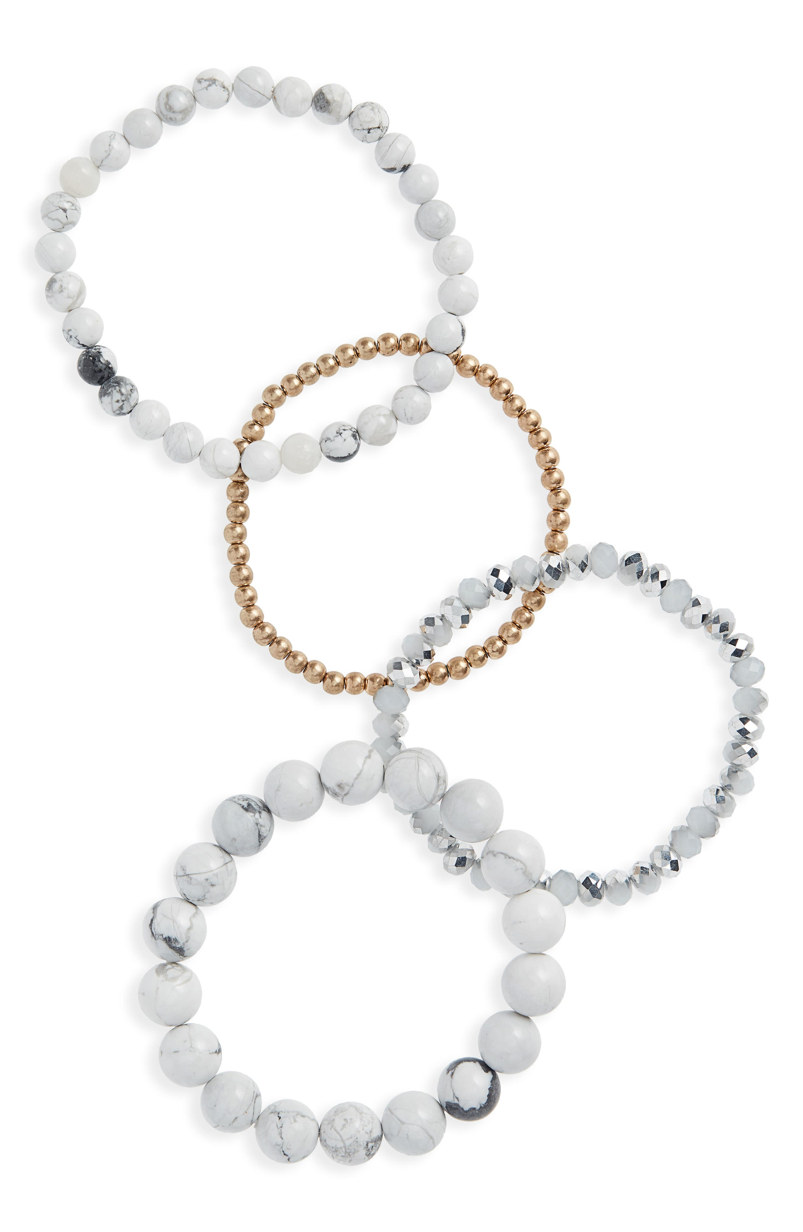 4-Piece Stone Bracelet Set,                         Main,                         color, GREY/ WHITE
