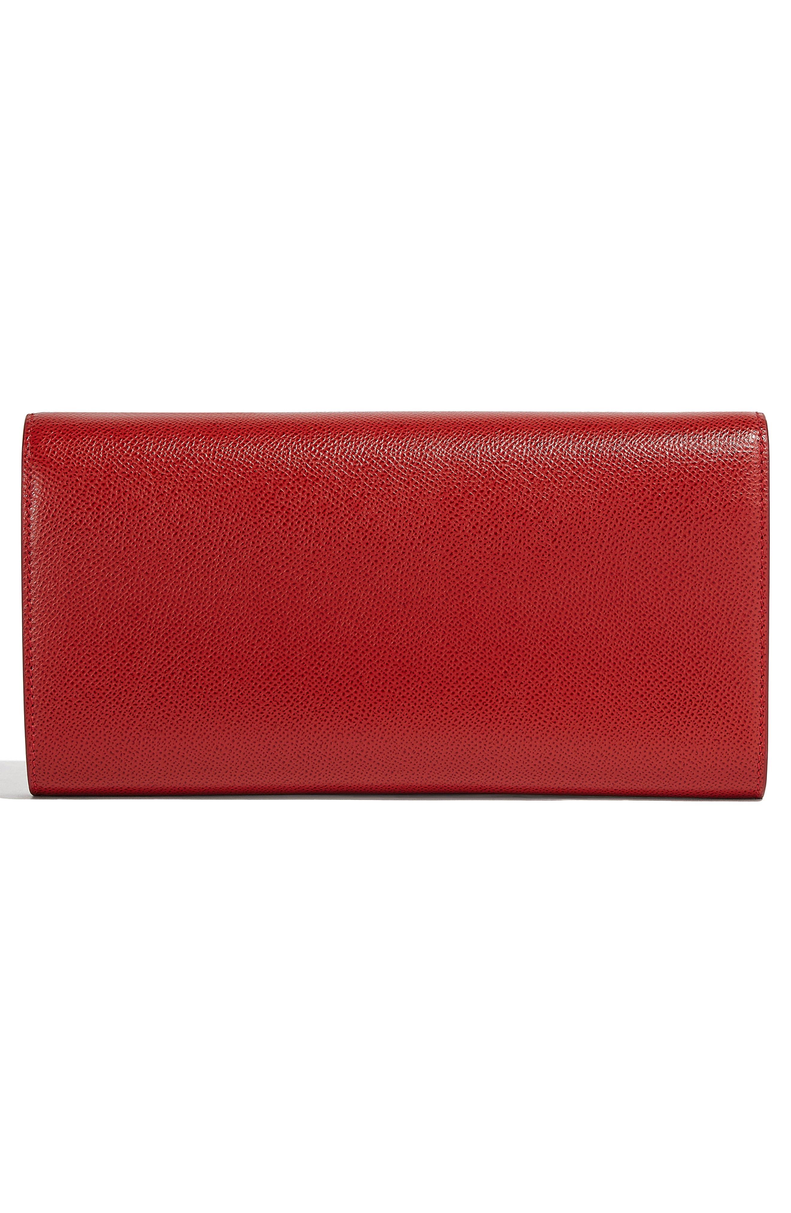 Gancio Calfskin Leather Clutch,                             Alternate thumbnail 2, color,                             LIPSTICK