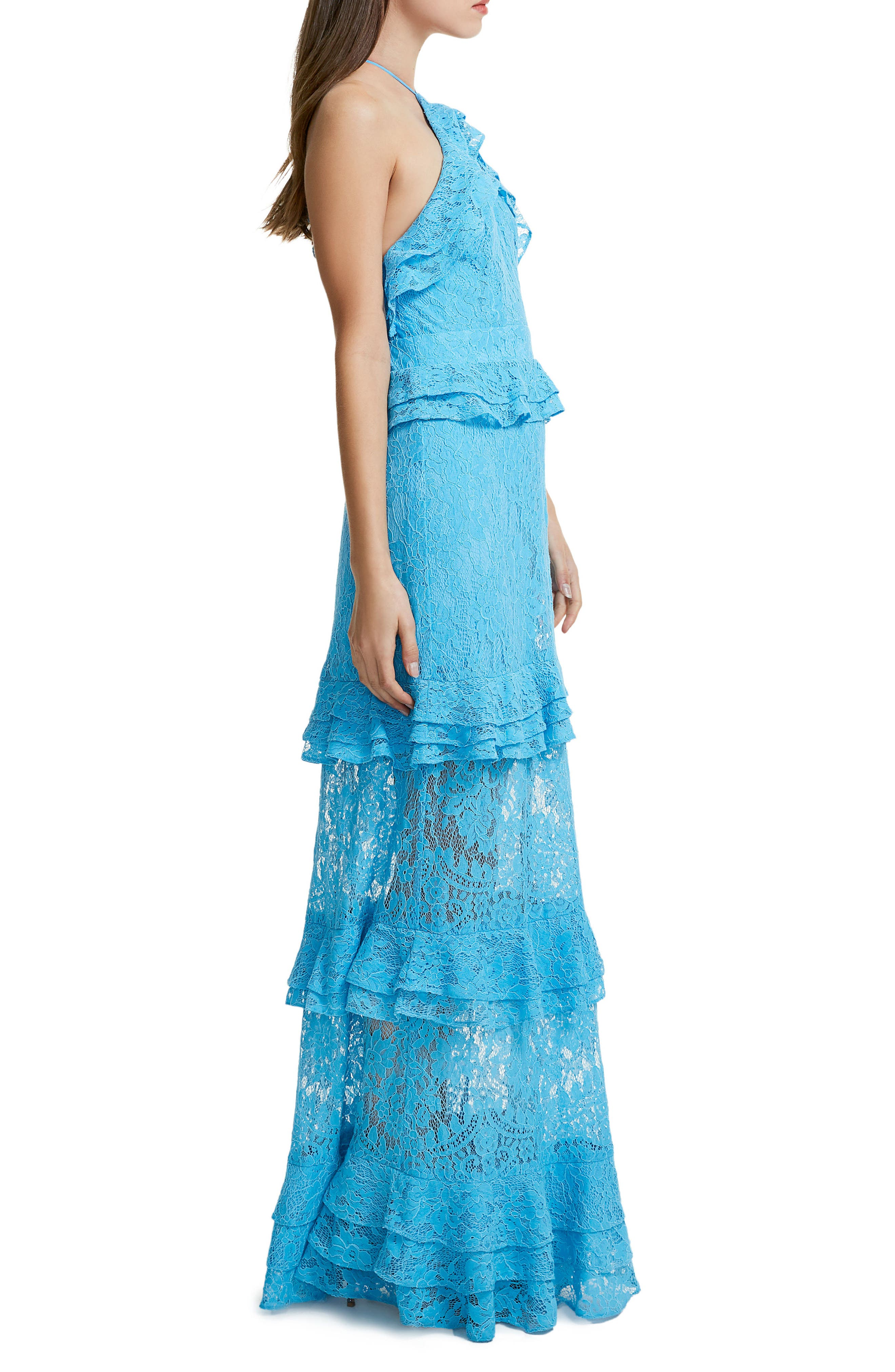 Violet Ruffle Maxi Dress,                             Alternate thumbnail 3, color,                             400