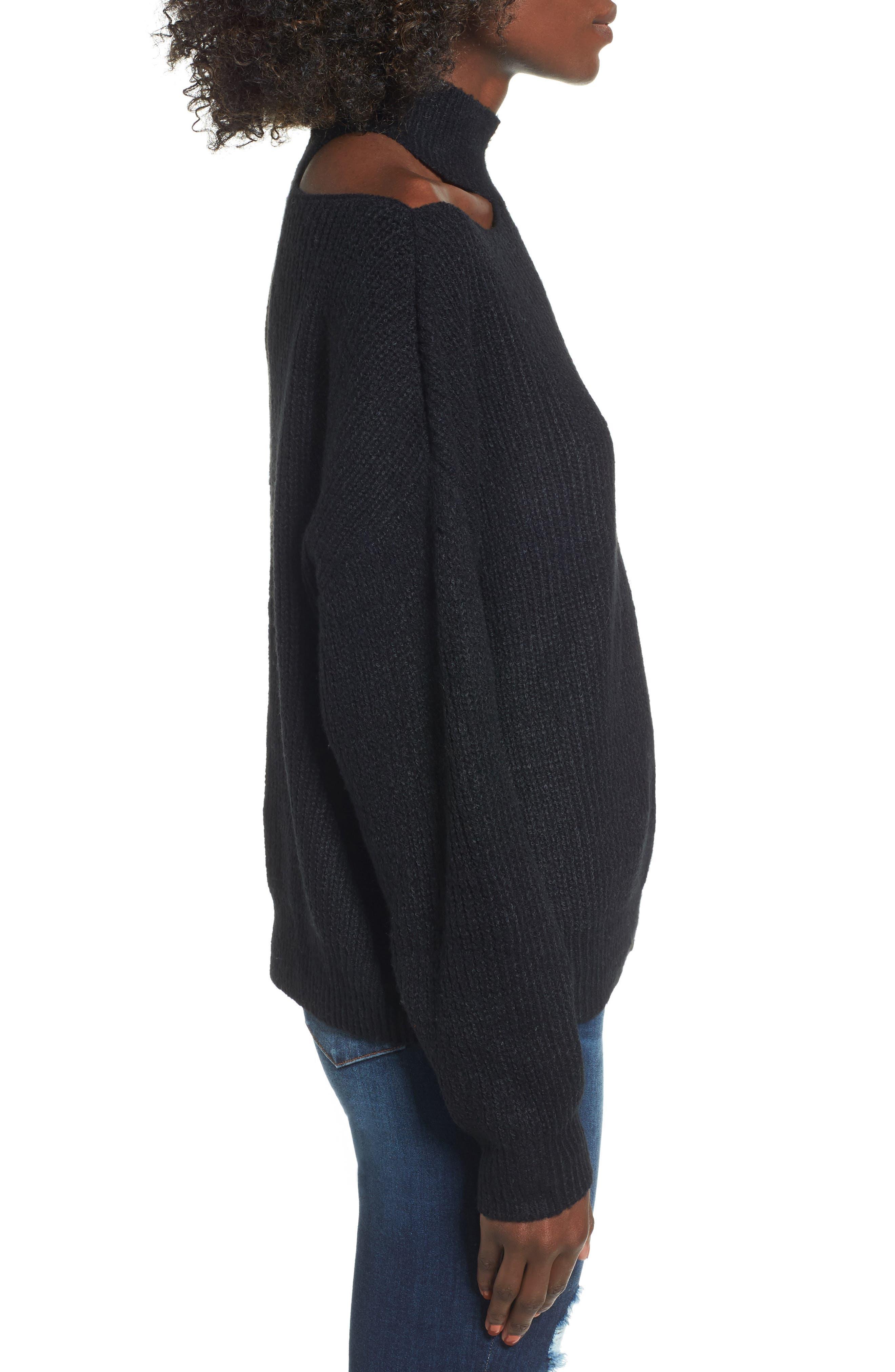 Cutout Turtleneck Sweater,                             Alternate thumbnail 3, color,                             001