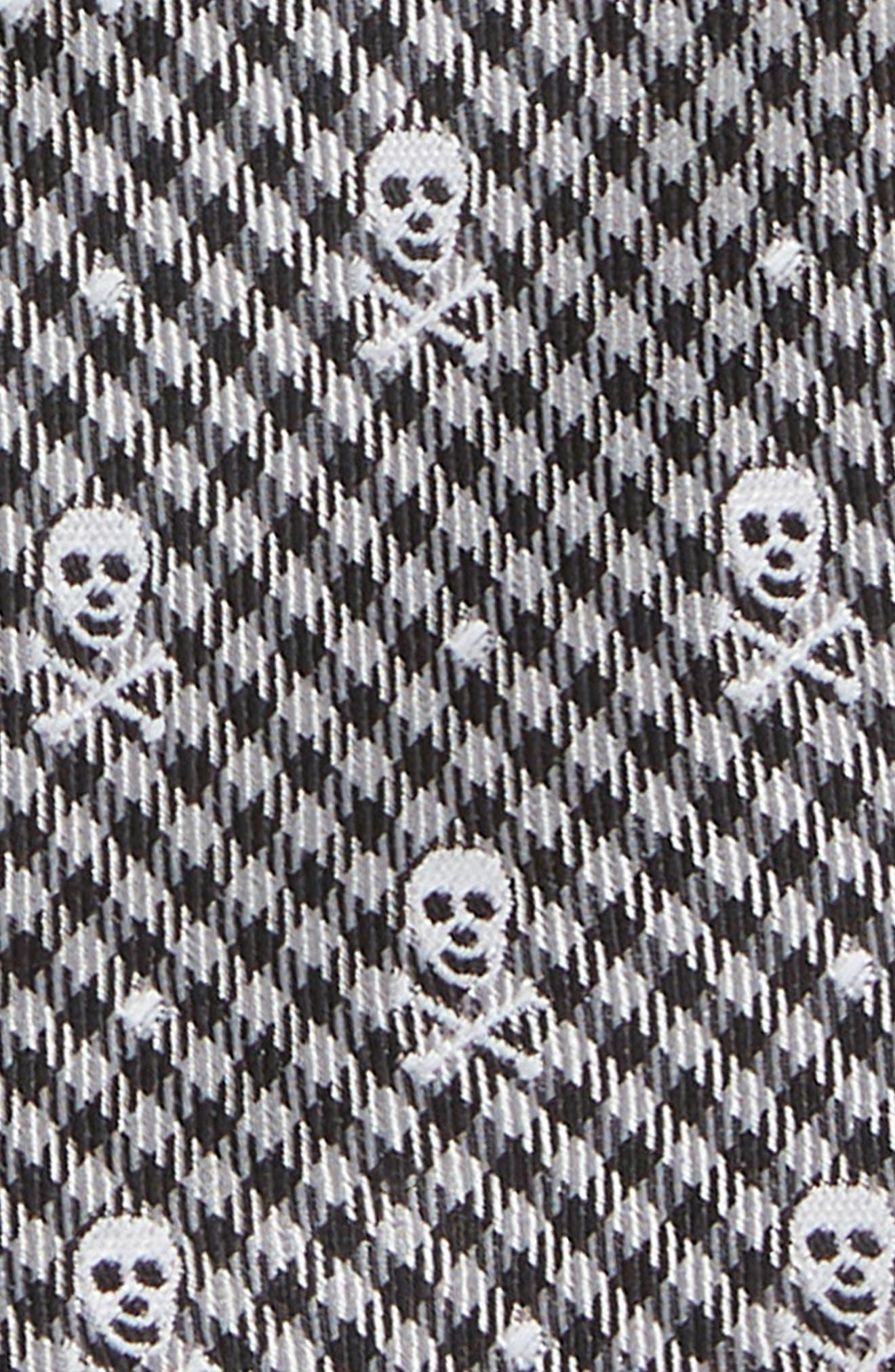 Skull Silk Tie,                             Alternate thumbnail 2, color,                             GREY