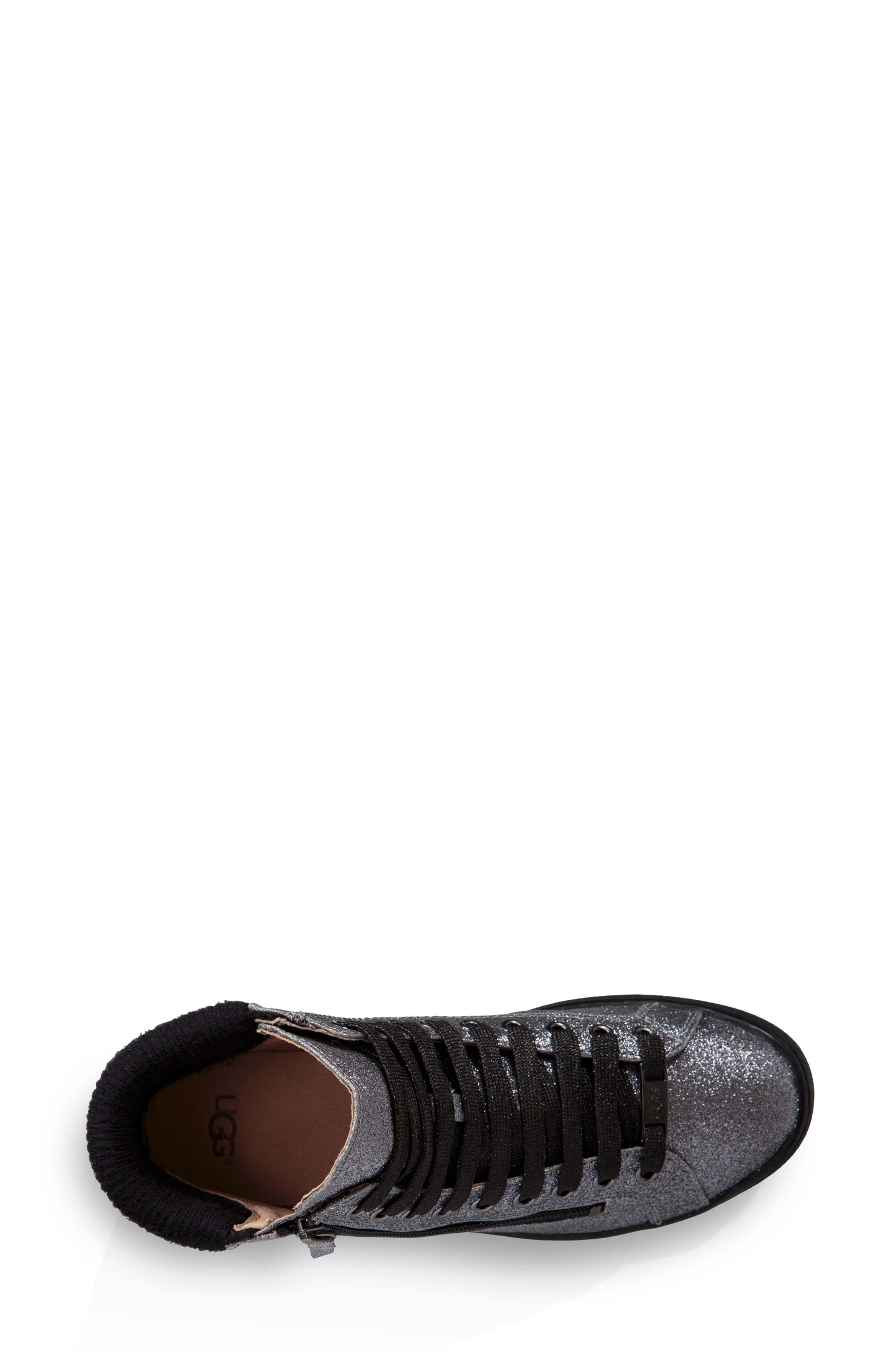 Olive Glitter Sneaker,                             Alternate thumbnail 4, color,                             GUNMETAL FABRIC