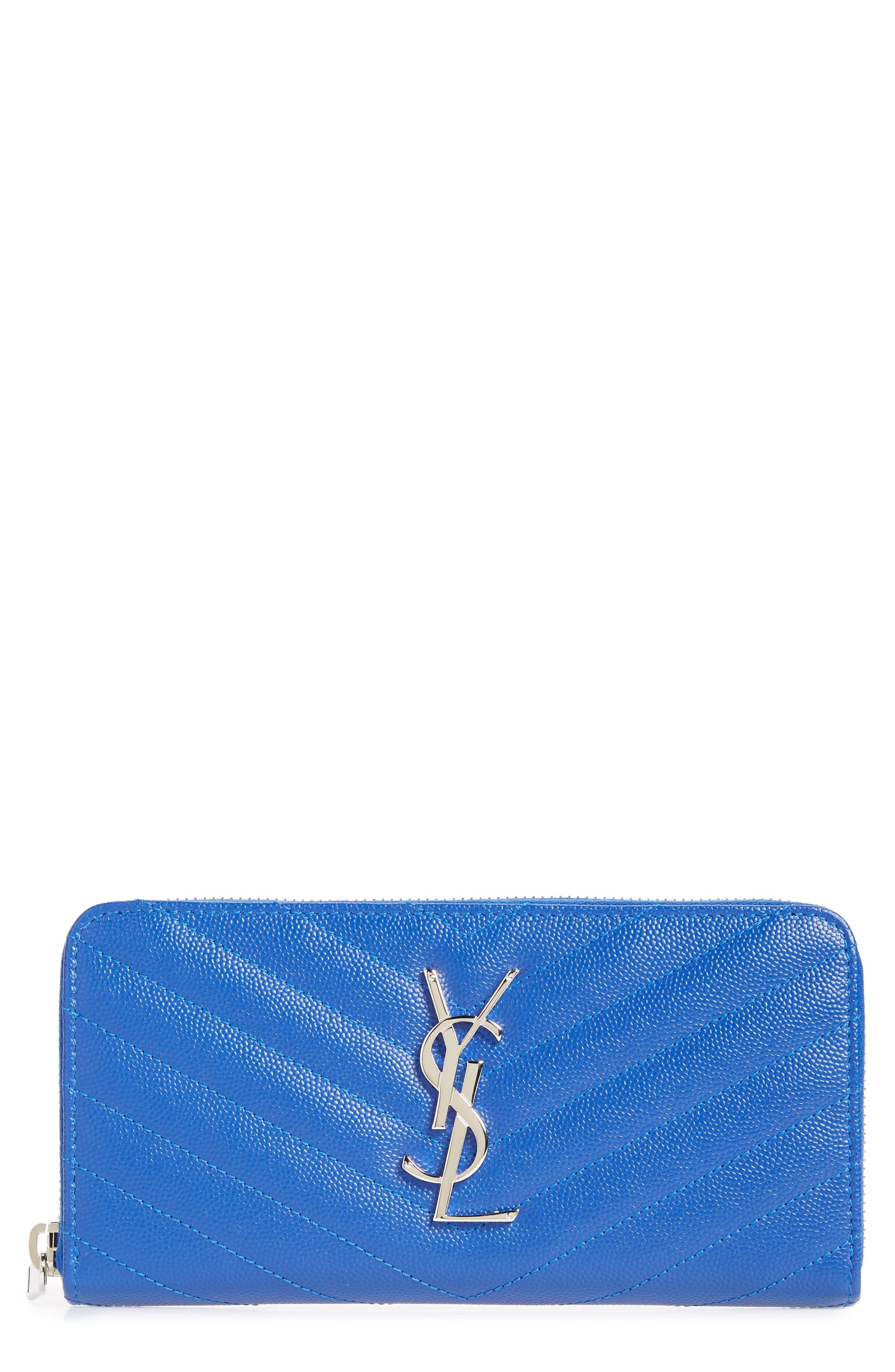 SAINT LAURENT 'Monogram' Zip Around Quilted Calfskin Leather Wallet, Main, color, BRIGHT BLUE