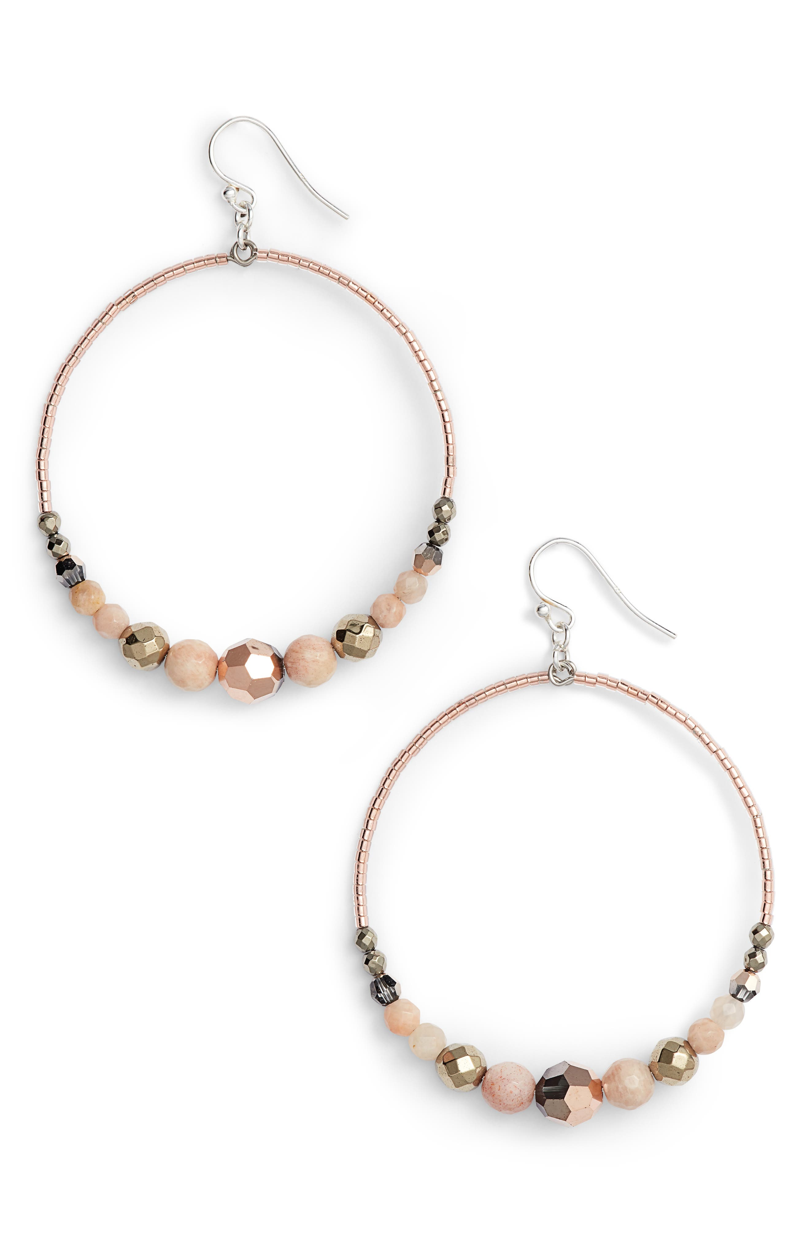 Semiprecious Stone Frontal Hoop Earrings,                         Main,                         color, SUNSTONE MIX