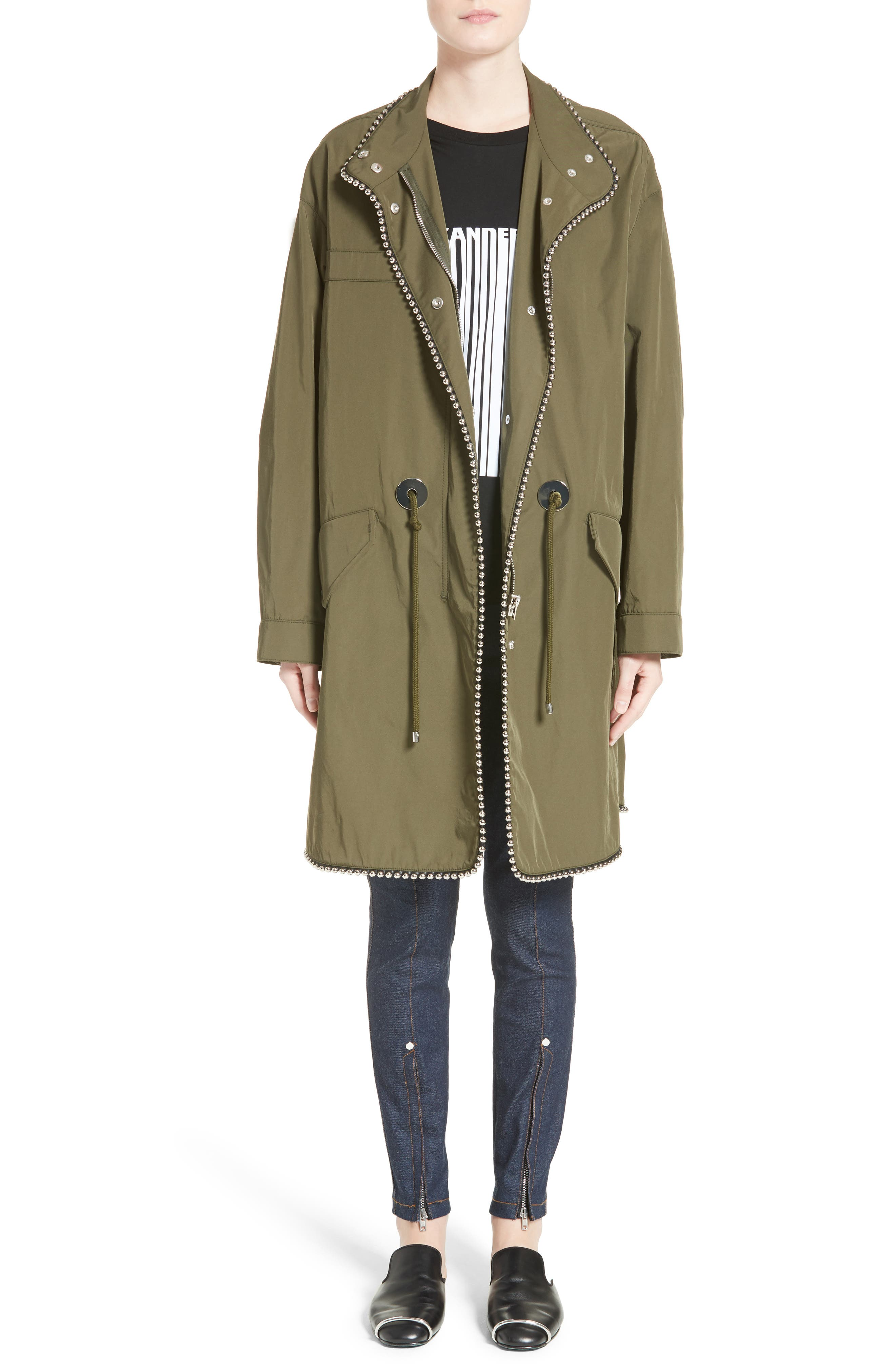 Chain Trim Twill Parka,                             Alternate thumbnail 7, color,                             300