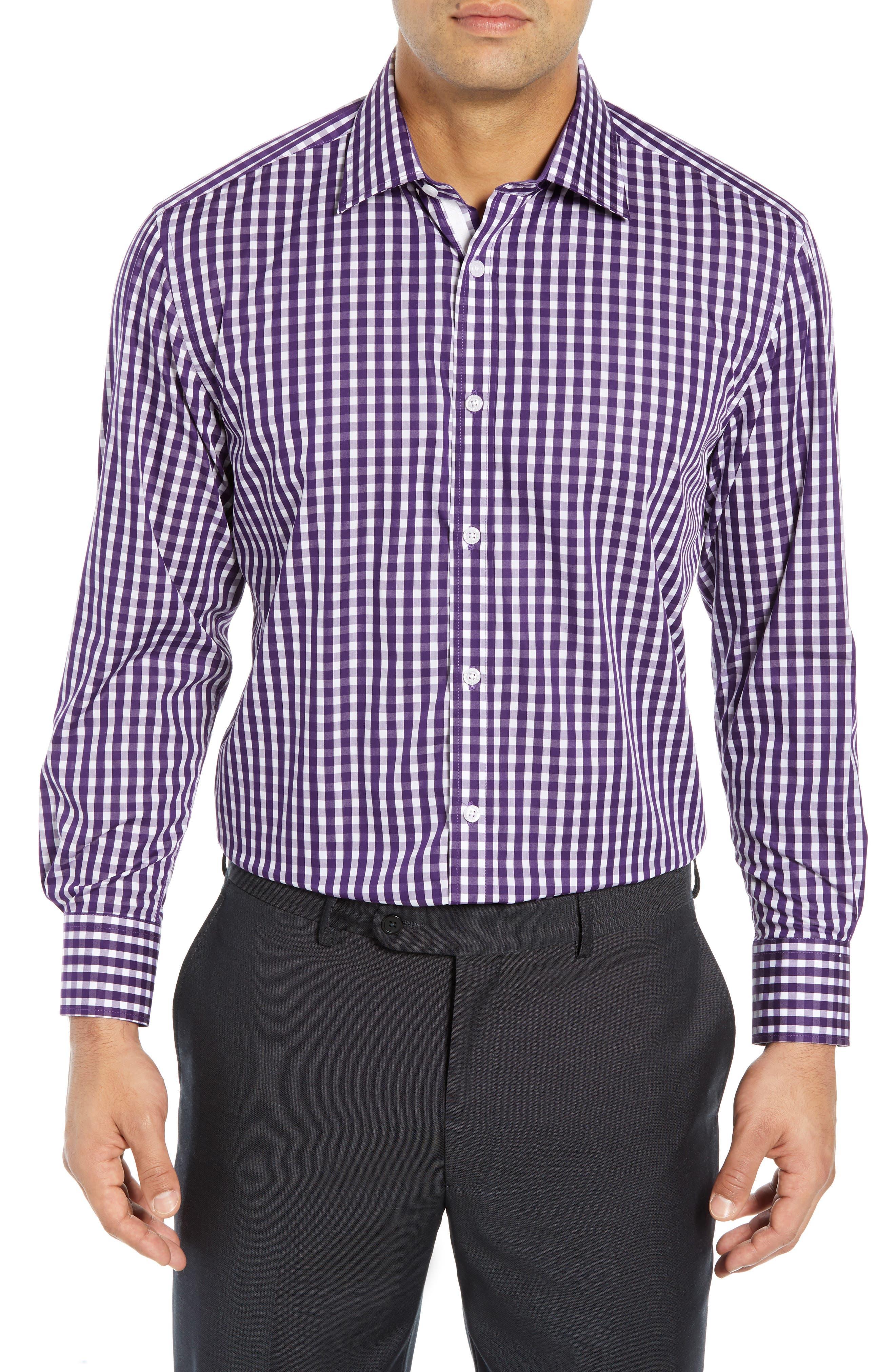 ENGLISH LAUNDRY Regular Fit Check Dress Shirt in Purple