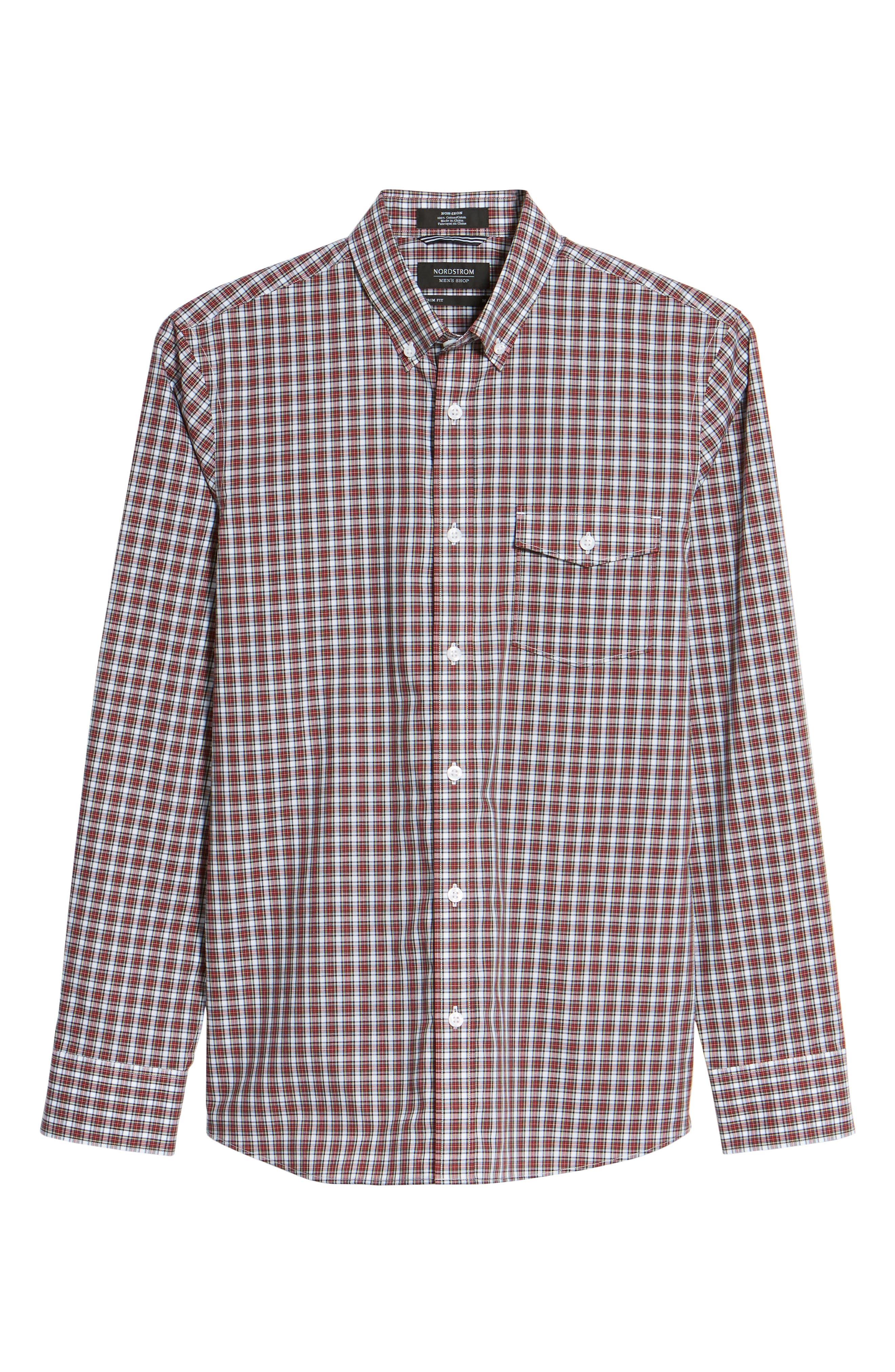 Ivy Trim Fit Non-Iron Tartan Plaid Sport Shirt,                             Alternate thumbnail 6, color,