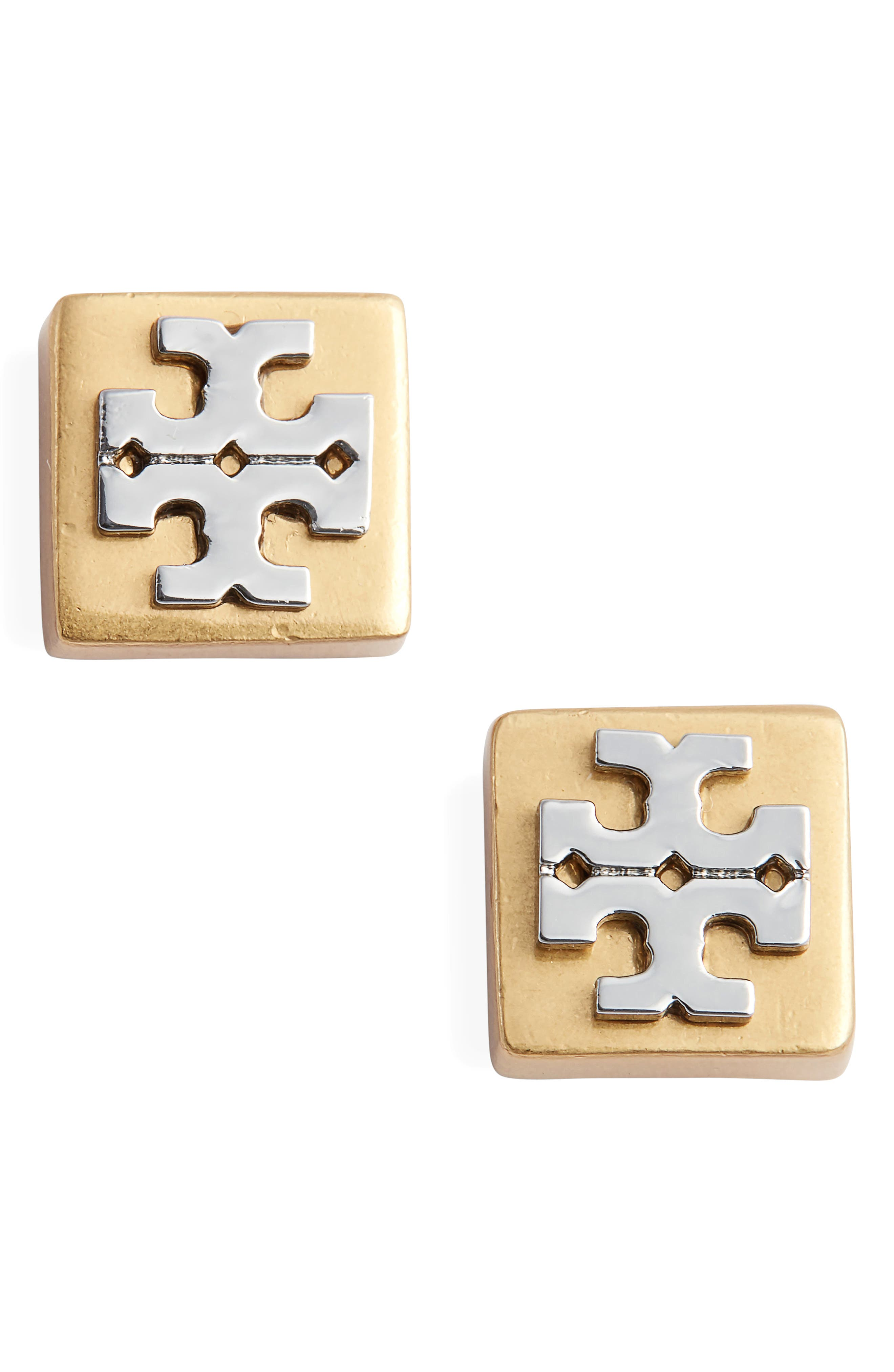 Block-T Logo Stud Earrings,                         Main,                         color, TORY GOLD/ SILVER