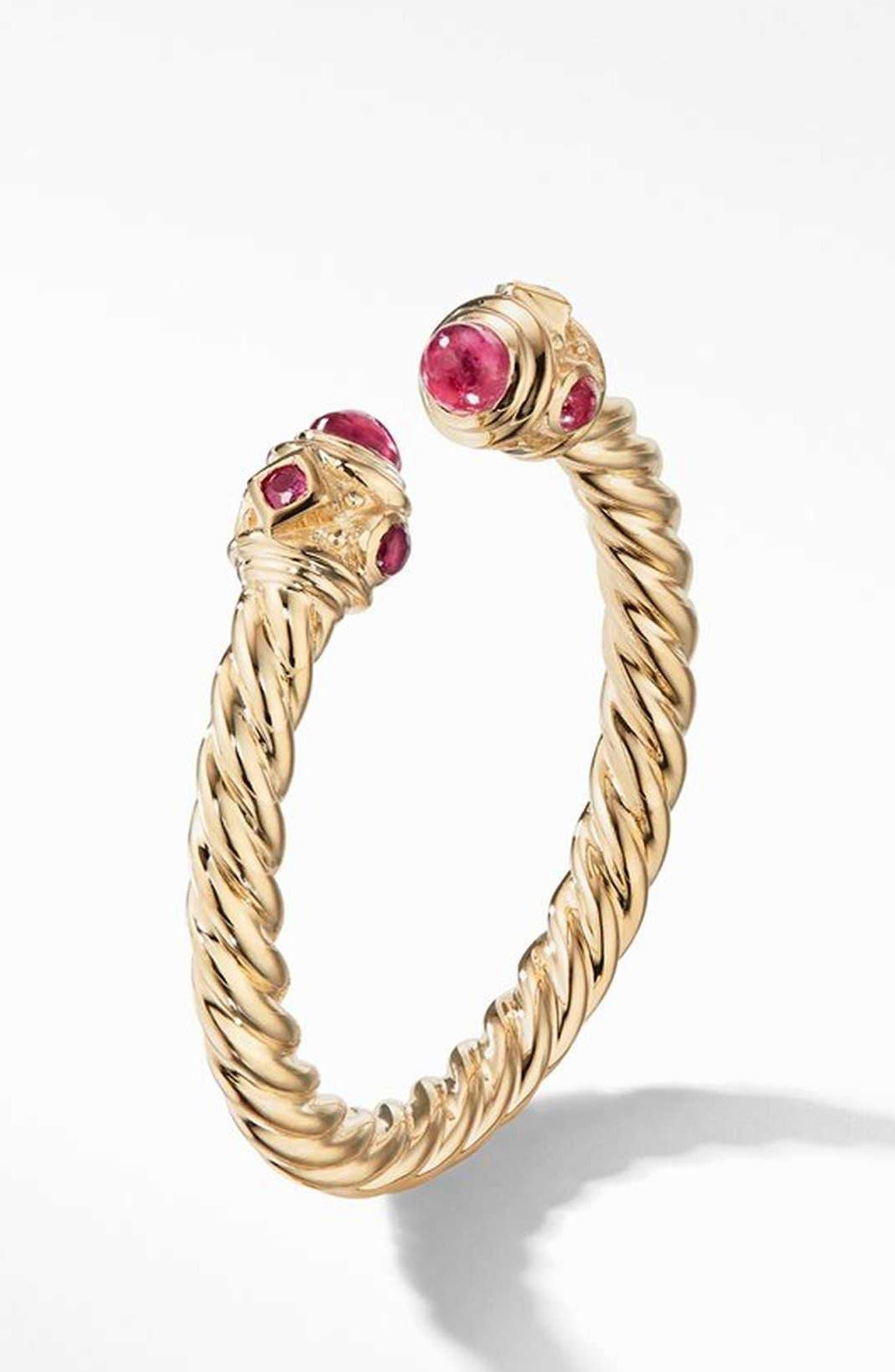 Renaissance Full Pavé Ring in 18K Gold,                             Alternate thumbnail 2, color,                             RUBY