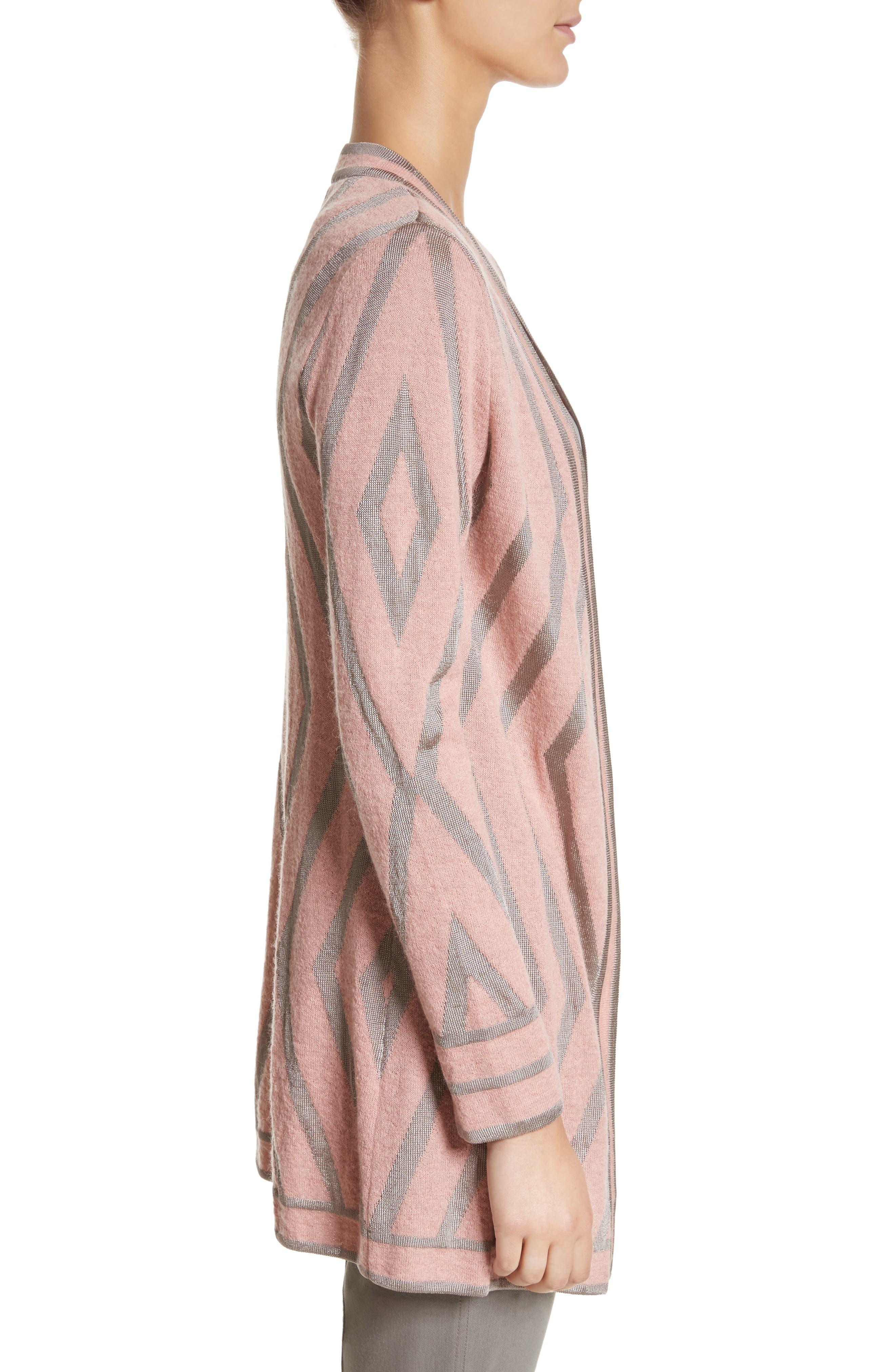 ST. JOHN COLLECTION,                             Matte Shine Geo Jacquard Knit Cardigan,                             Alternate thumbnail 3, color,                             680