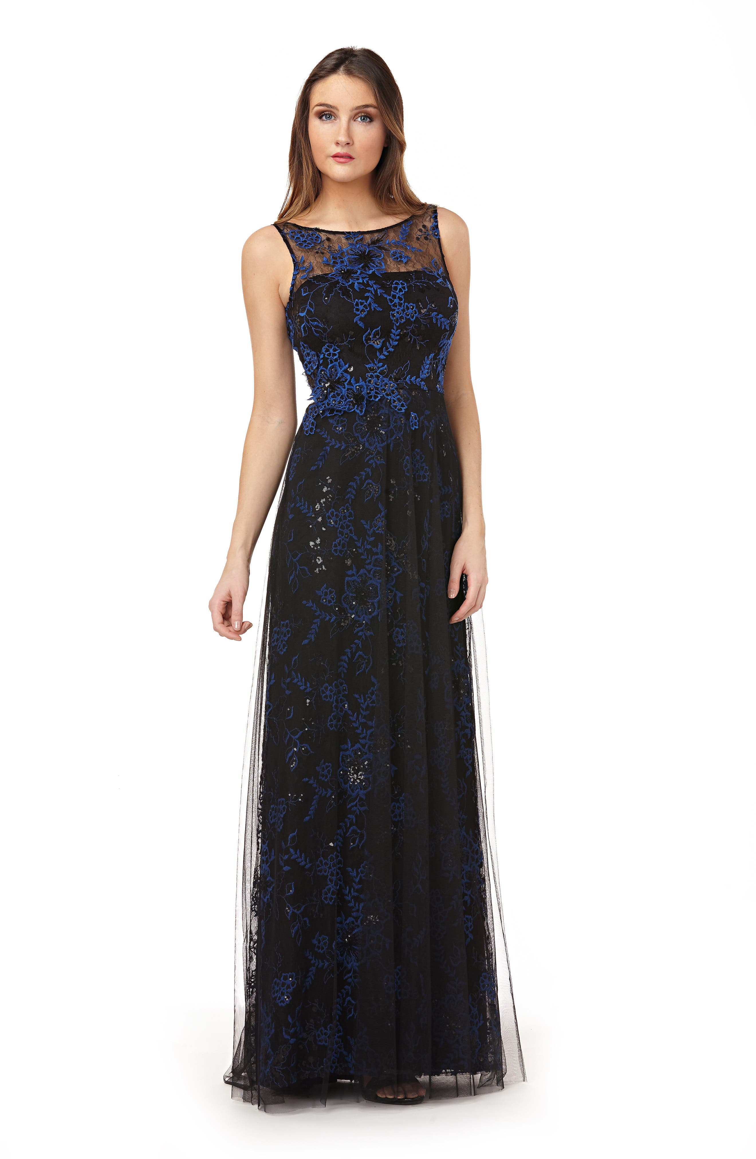 CARMEN MARC VALVO INFUSION,                             Sequin Threadwork Gown,                             Alternate thumbnail 6, color,                             COBALT/ BLACK