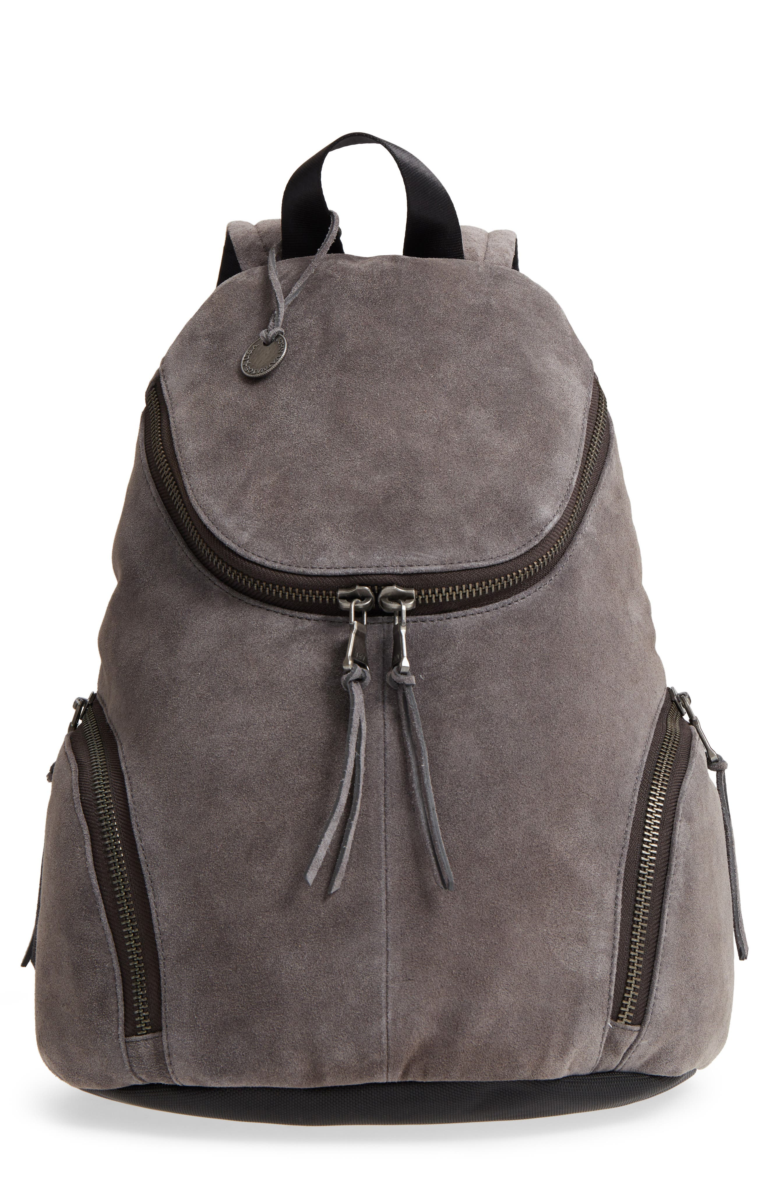 Brooklyn Suede Backpack,                             Main thumbnail 1, color,                             LEAD