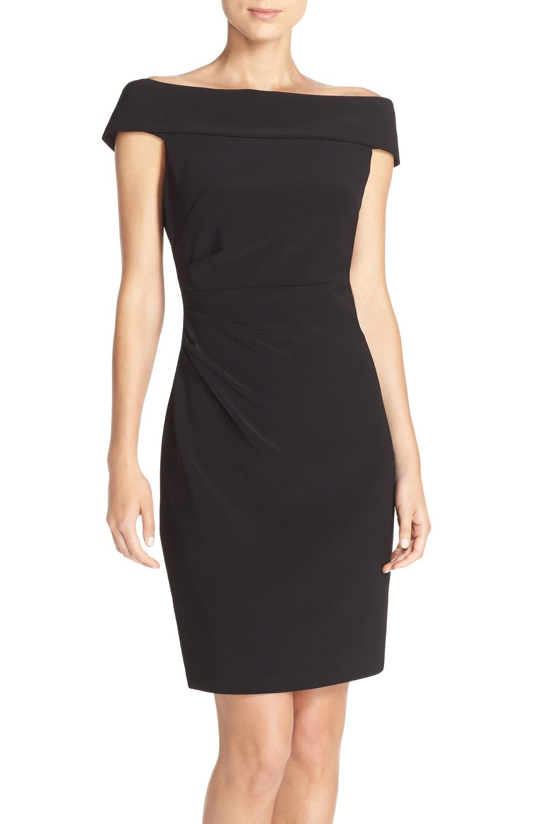 Off the Shoulder Crepe Sheath Dress,                         Main,                         color, 001