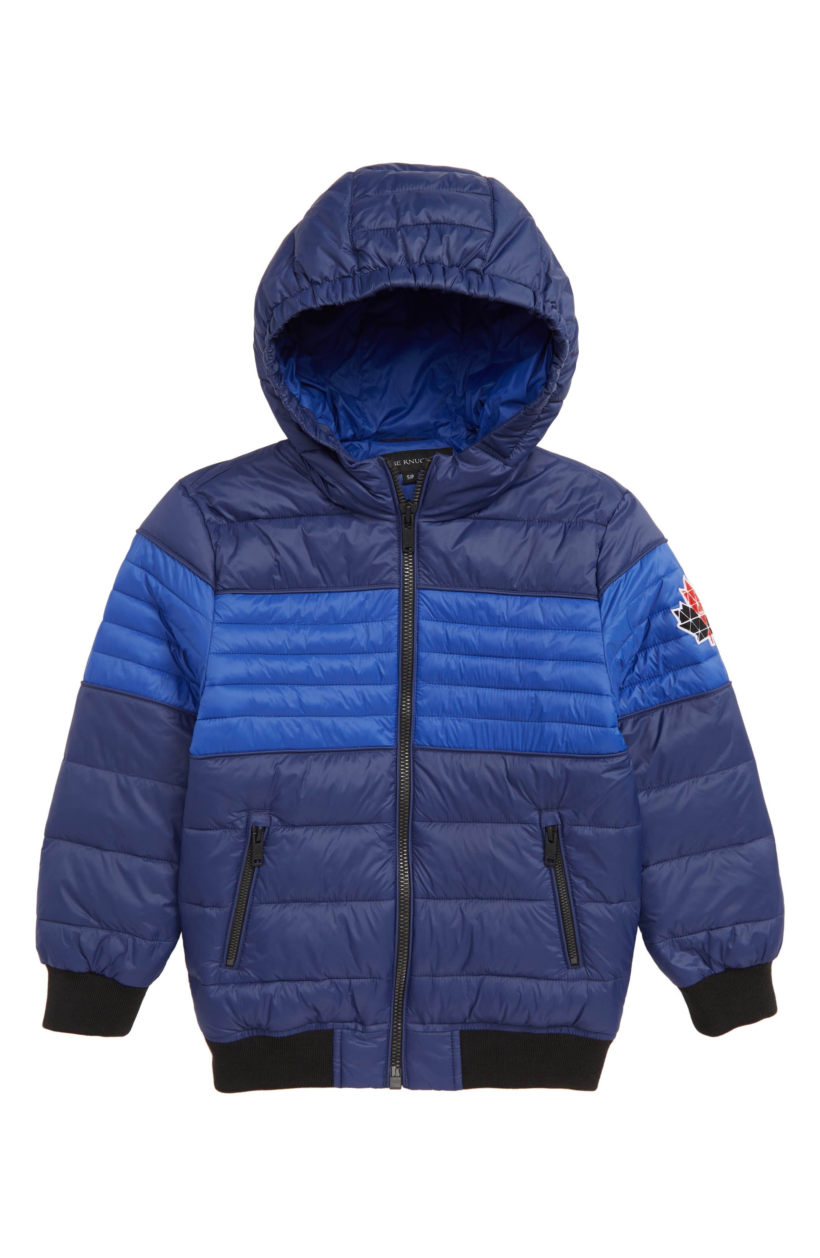 MOOSE KNUCKLES Peel Quilted Hooded Jacket, Main, color, NAVY
