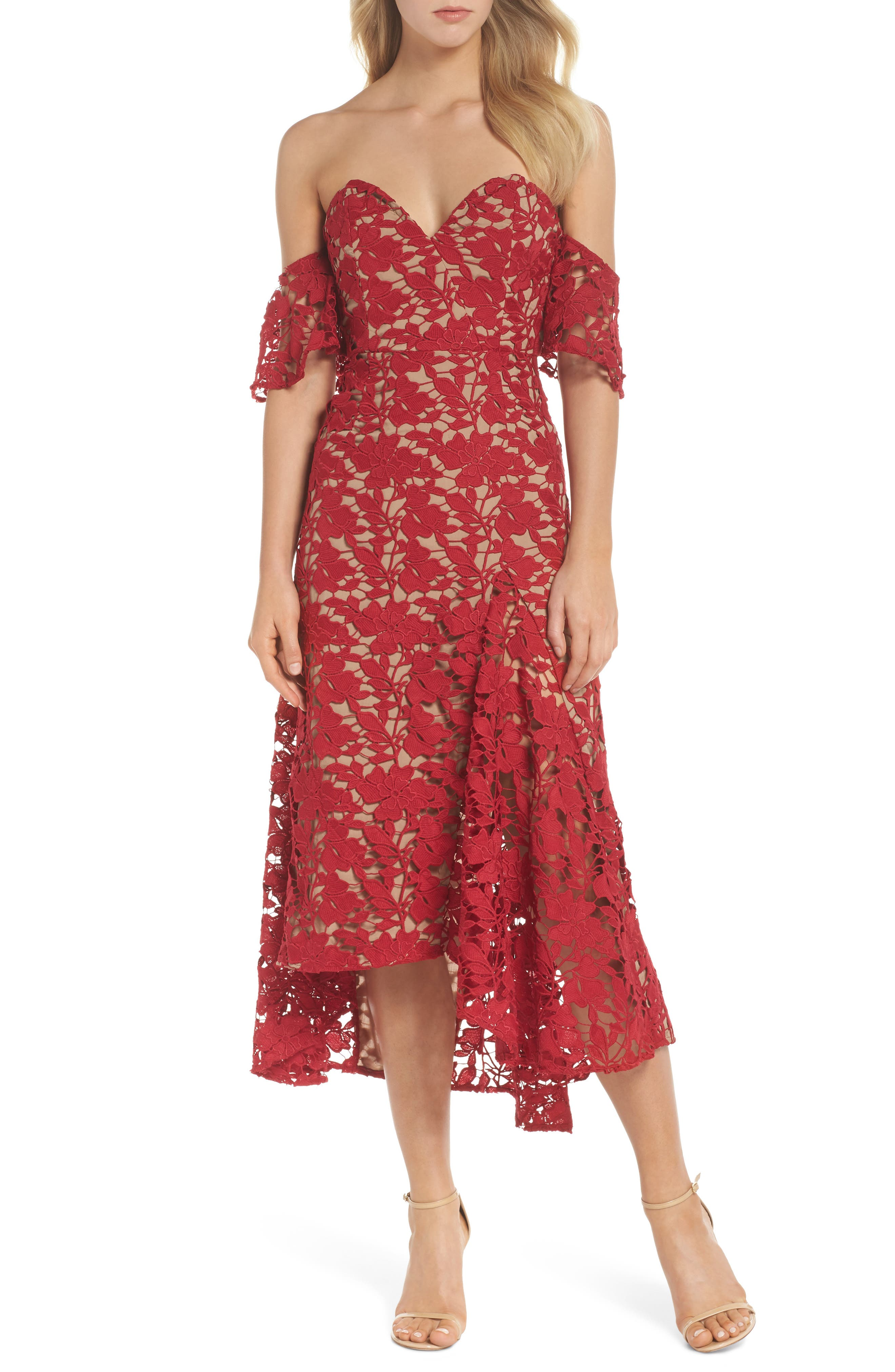 Scarlett Off the Shoulder Lace Dress,                             Main thumbnail 1, color,                             RED