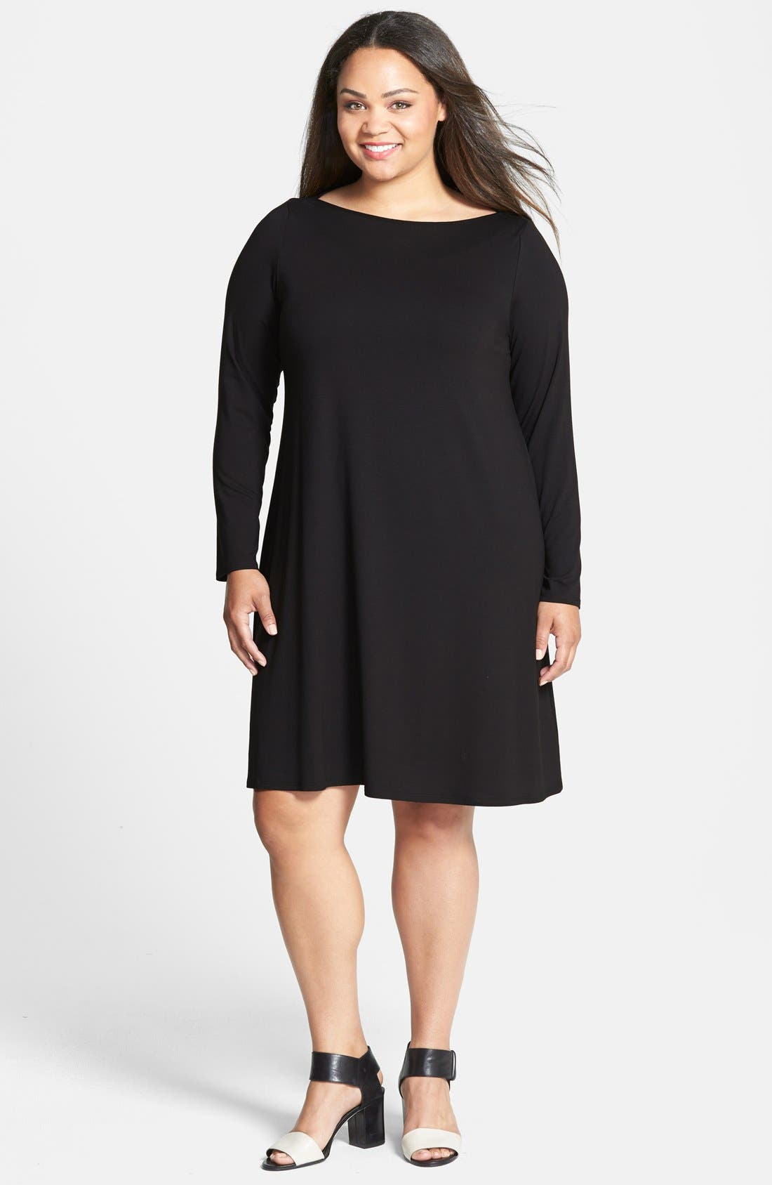 Bateau Neck Jersey Shift Dress,                             Main thumbnail 1, color,                             002