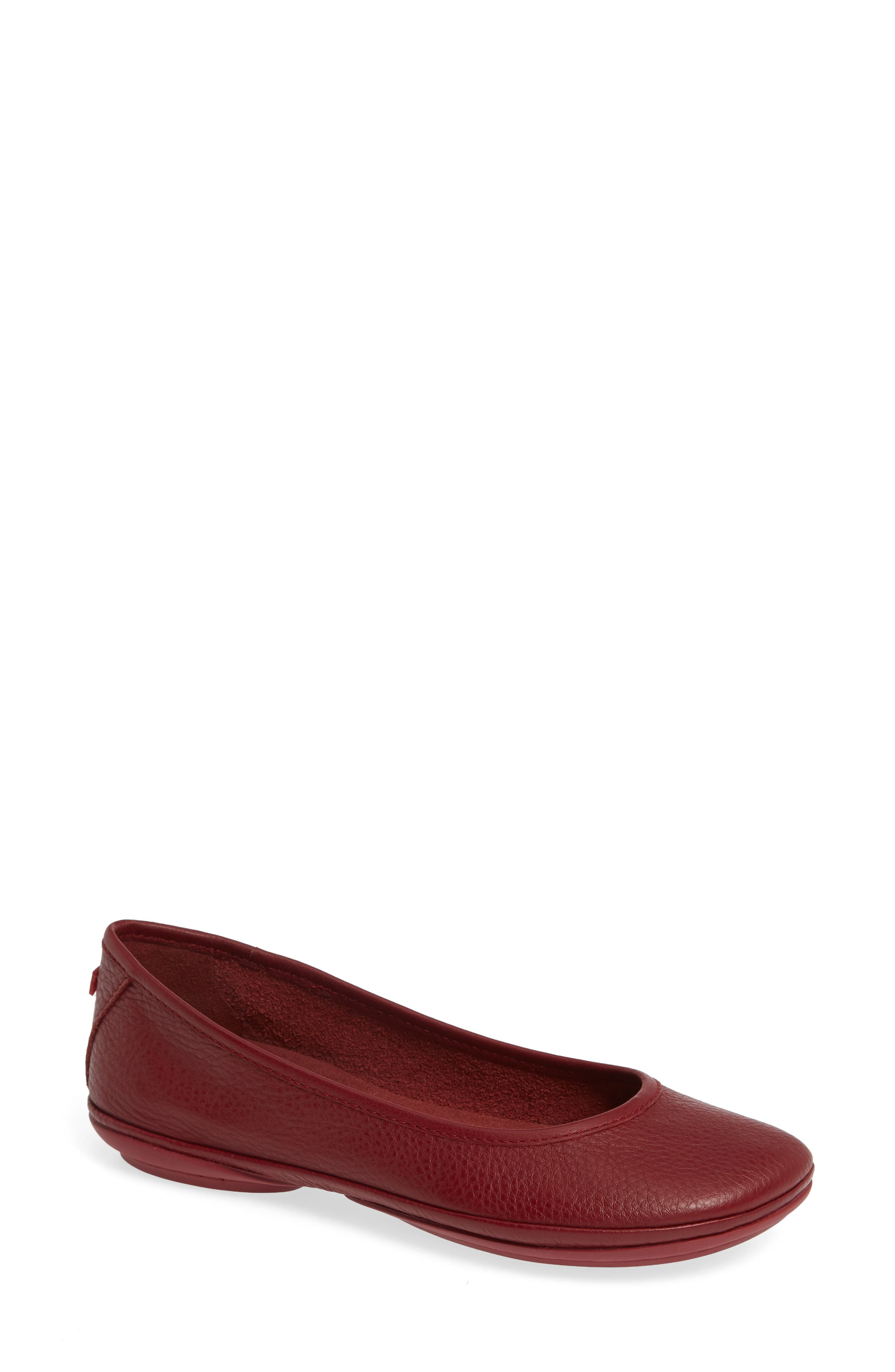 Right Nina Ballet Flat,                             Main thumbnail 1, color,                             RED LEATHER