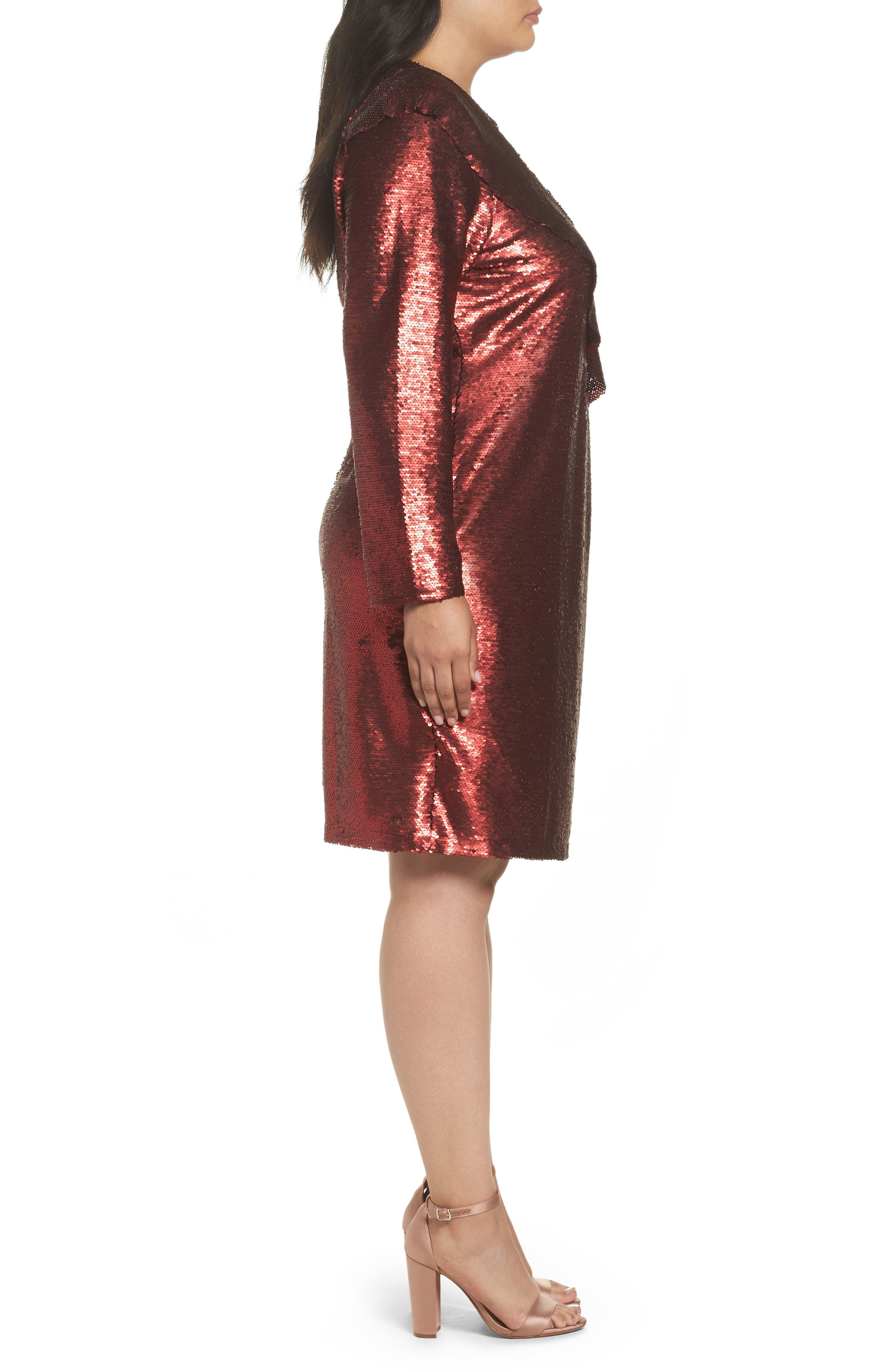 Sequin Ruffle Dress,                             Alternate thumbnail 3, color,                             600