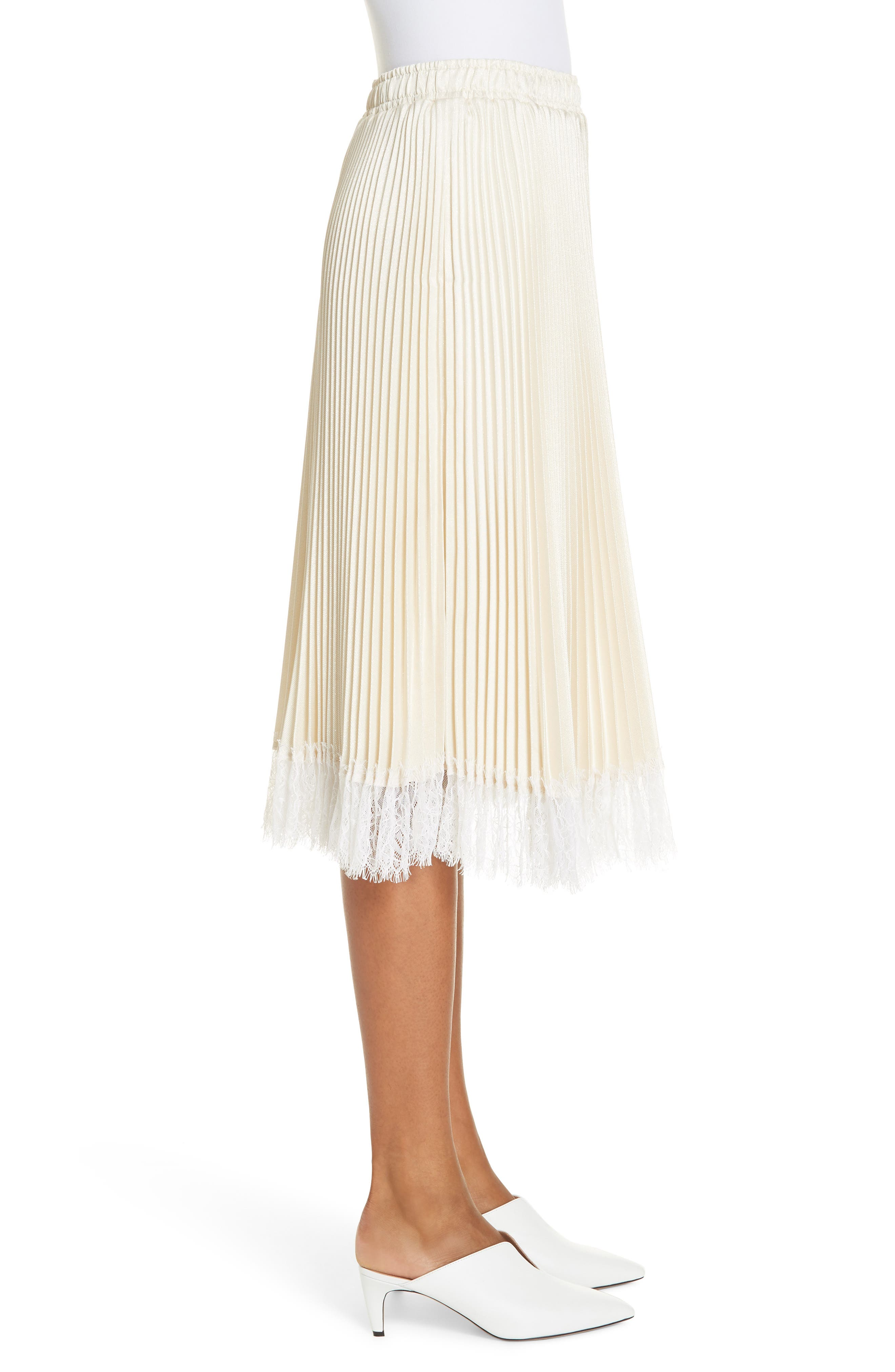 Pleated Metallic Lace Trim Skirt,                             Alternate thumbnail 3, color,                             CHAMPAGNE