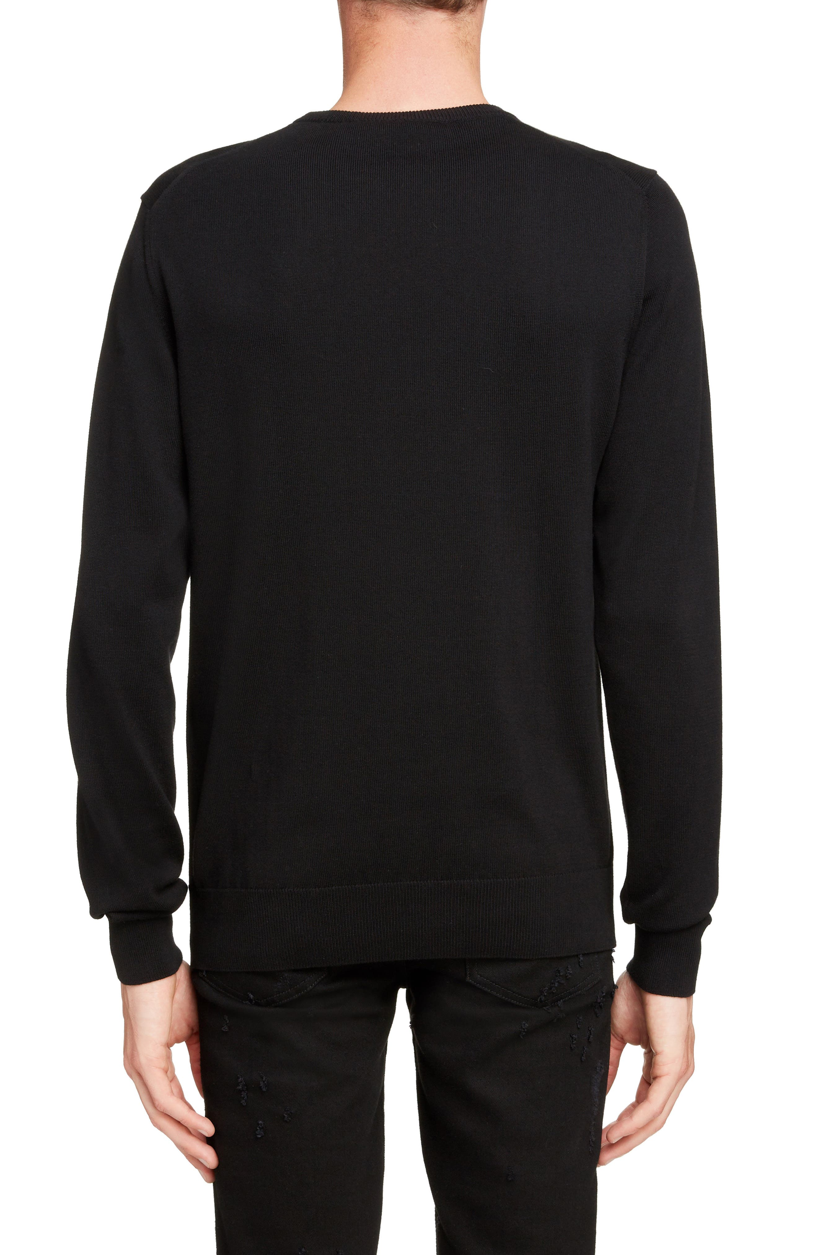 GIVENCHY,                             Tonal Vertical Logo Sweater,                             Alternate thumbnail 2, color,                             BLACK