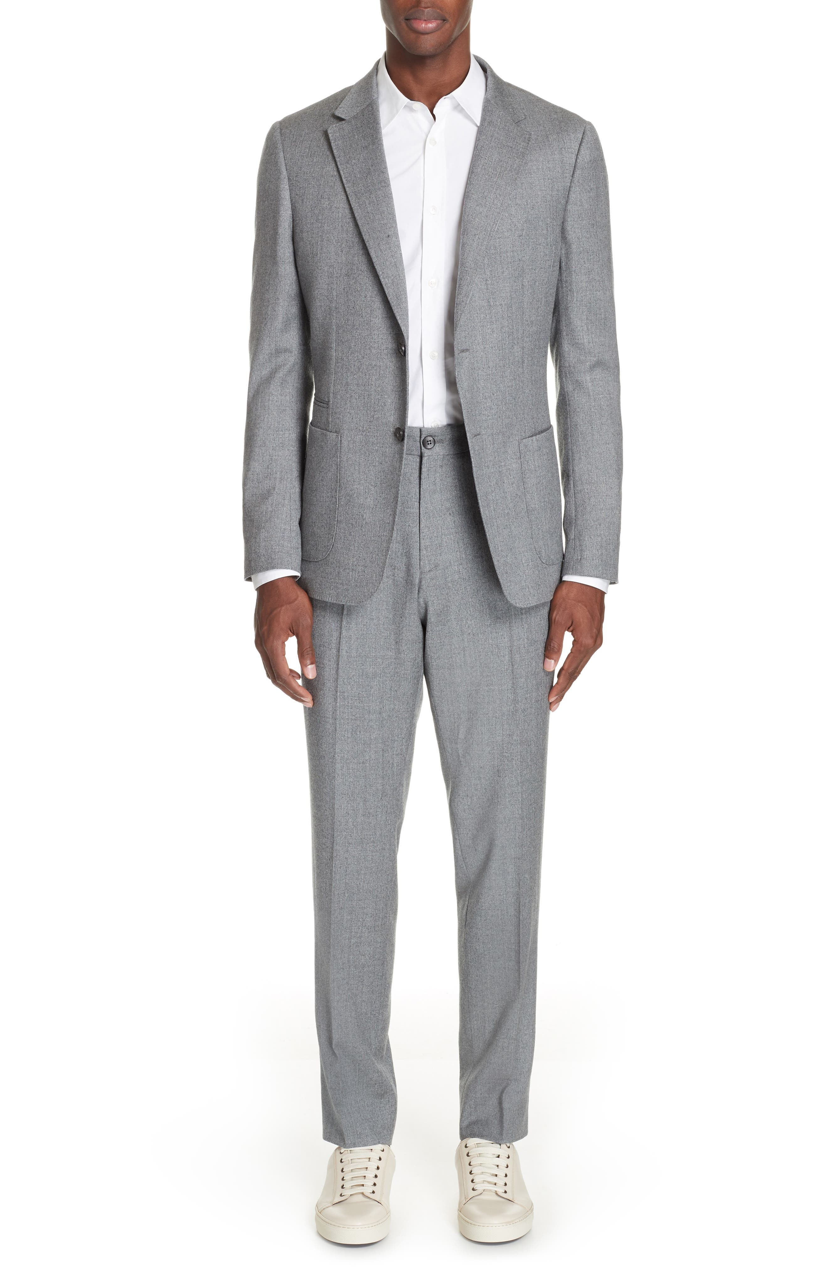 Wash and Go Trim Fit Solid Wool Suit,                             Main thumbnail 1, color,                             SILVER
