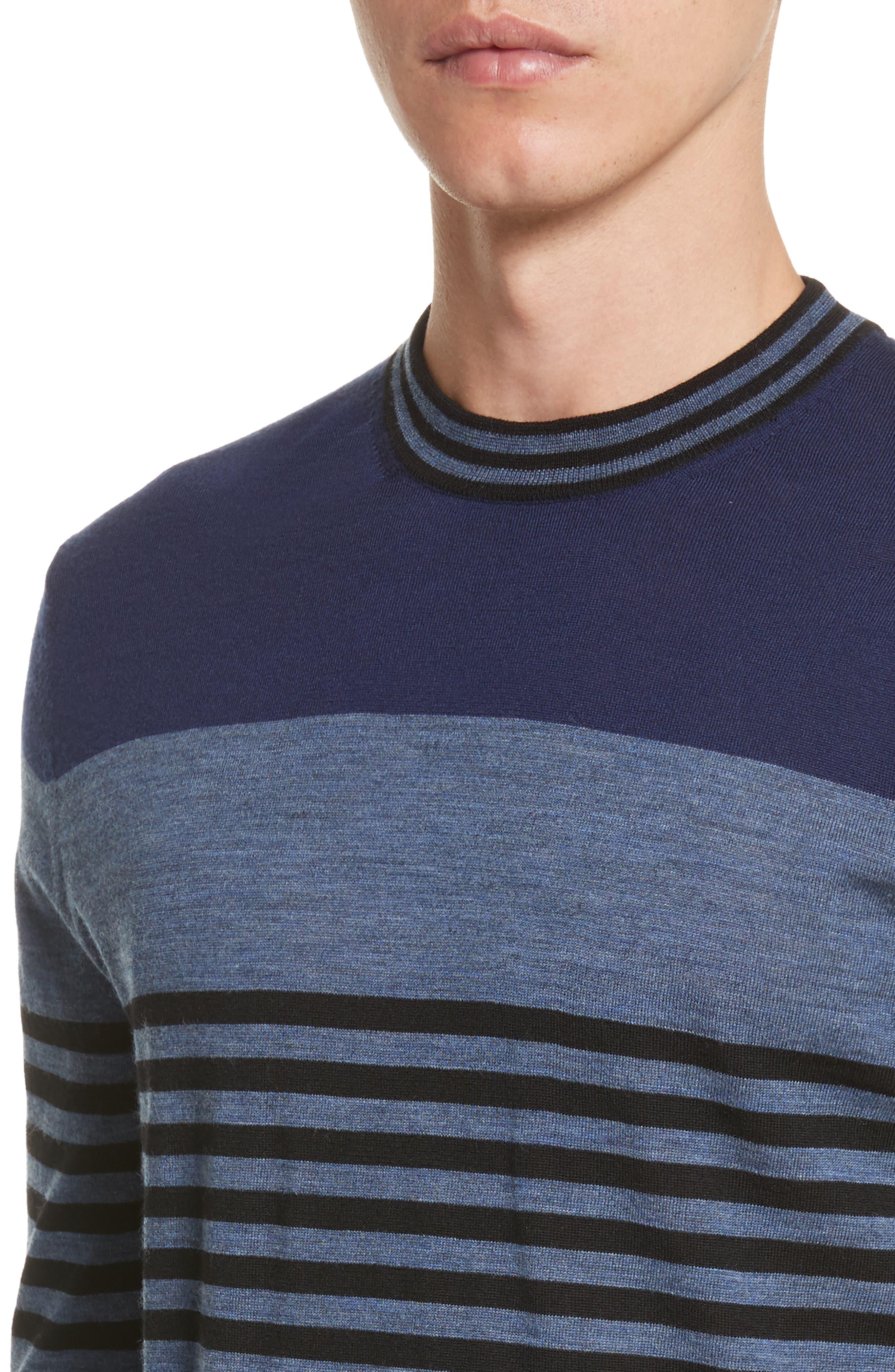 Stripe Merino Wool Crewneck Sweater,                             Alternate thumbnail 8, color,