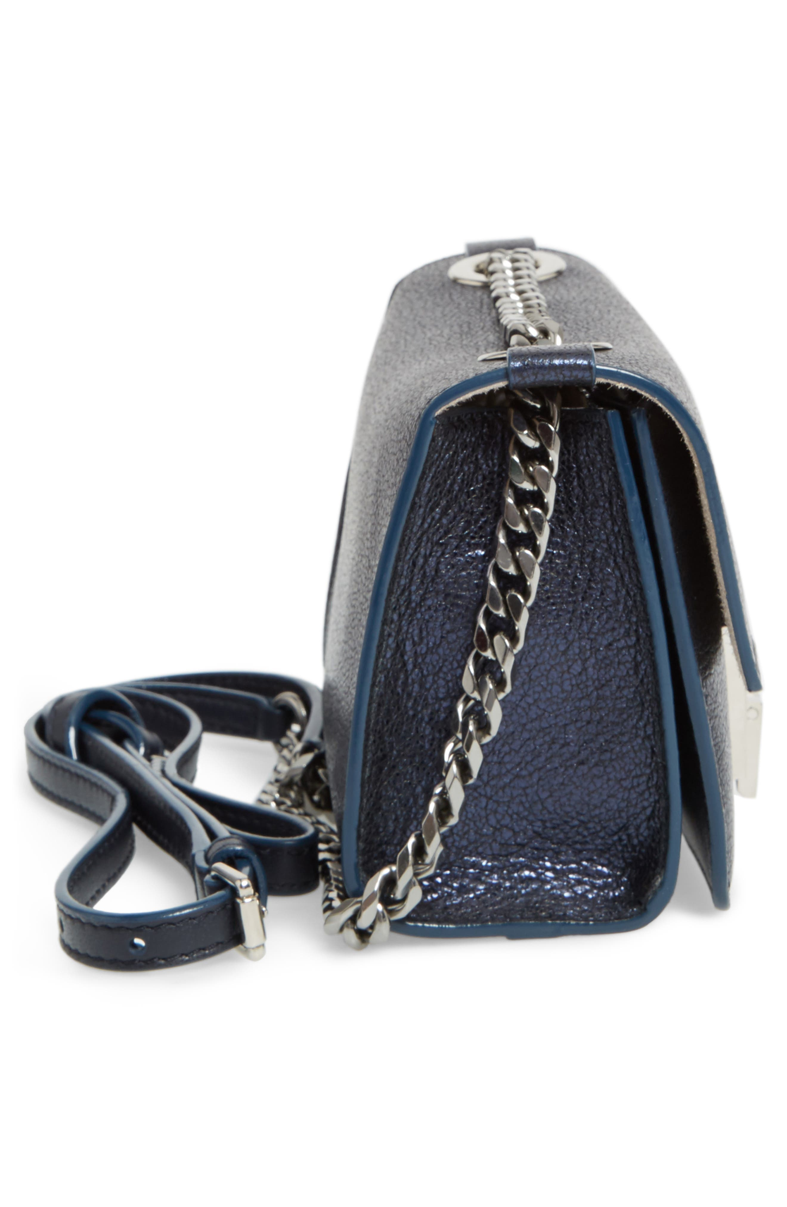 Mini Rebel Metallic Leather Crossbody Bag,                             Alternate thumbnail 5, color,                             400